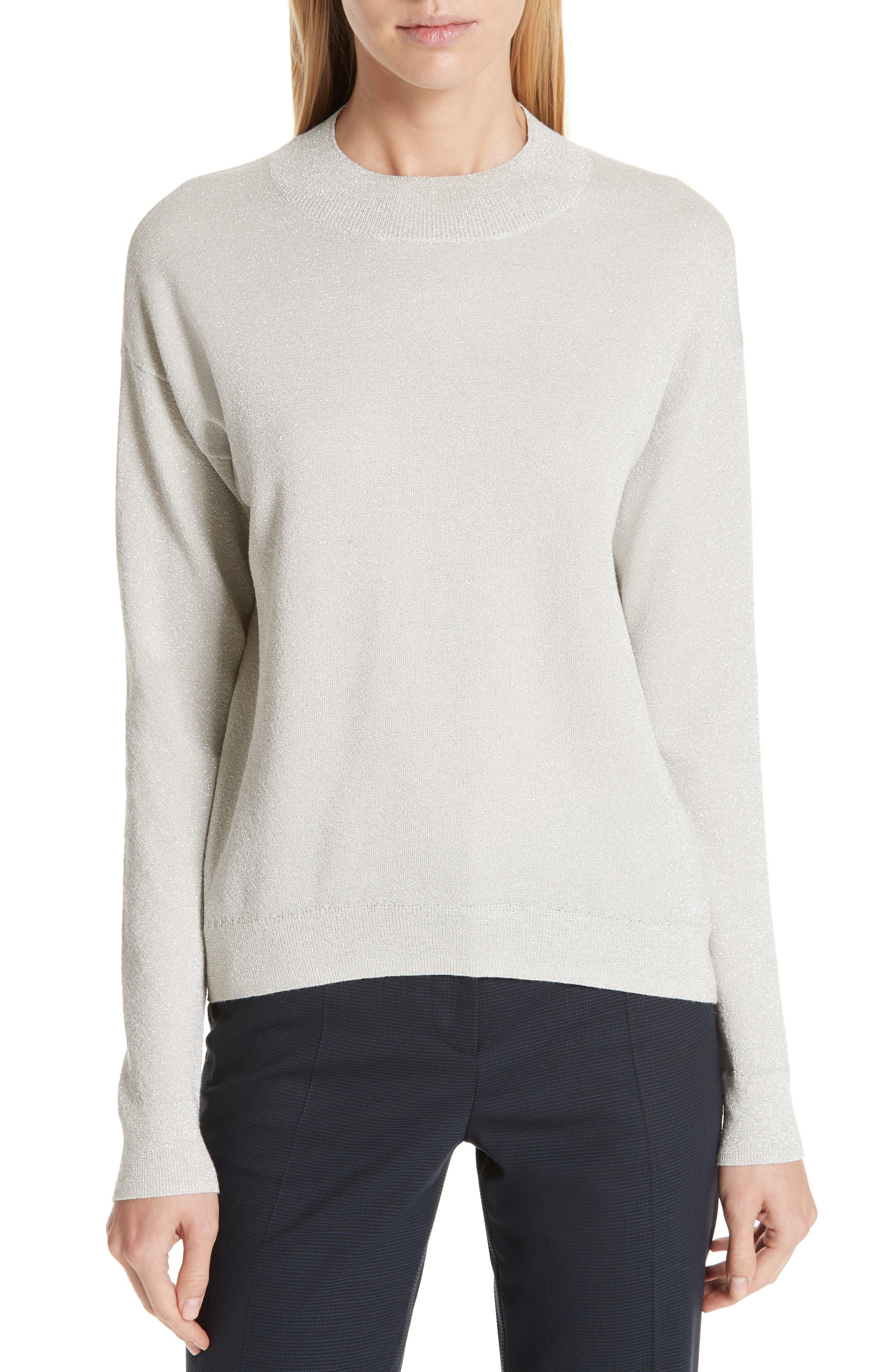 Boss Funday Metallic Wool Blend Sweater, White