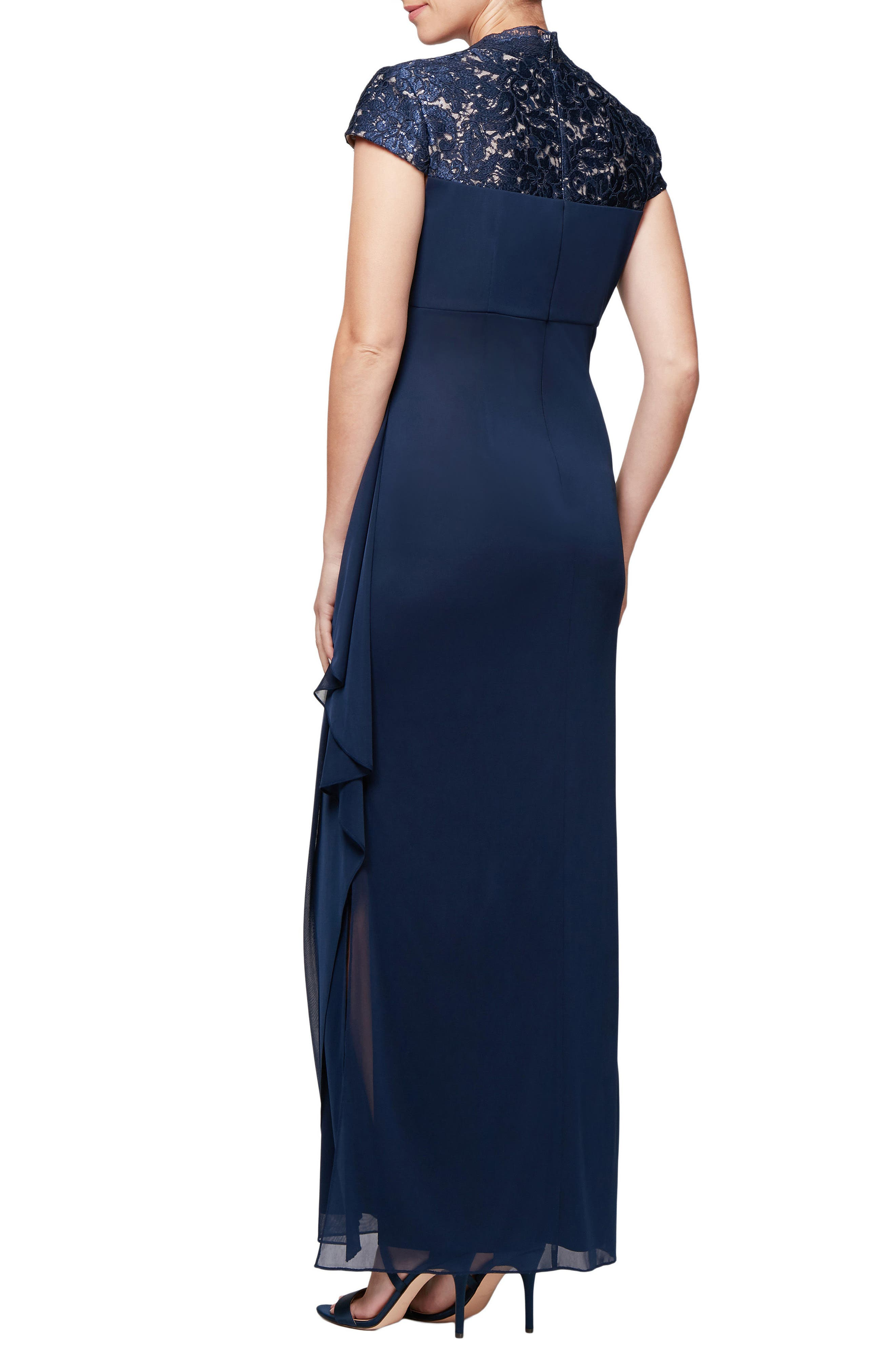 Lace Yoke Ruched Gown,                             Alternate thumbnail 2, color,                             NAVY/ NUDE