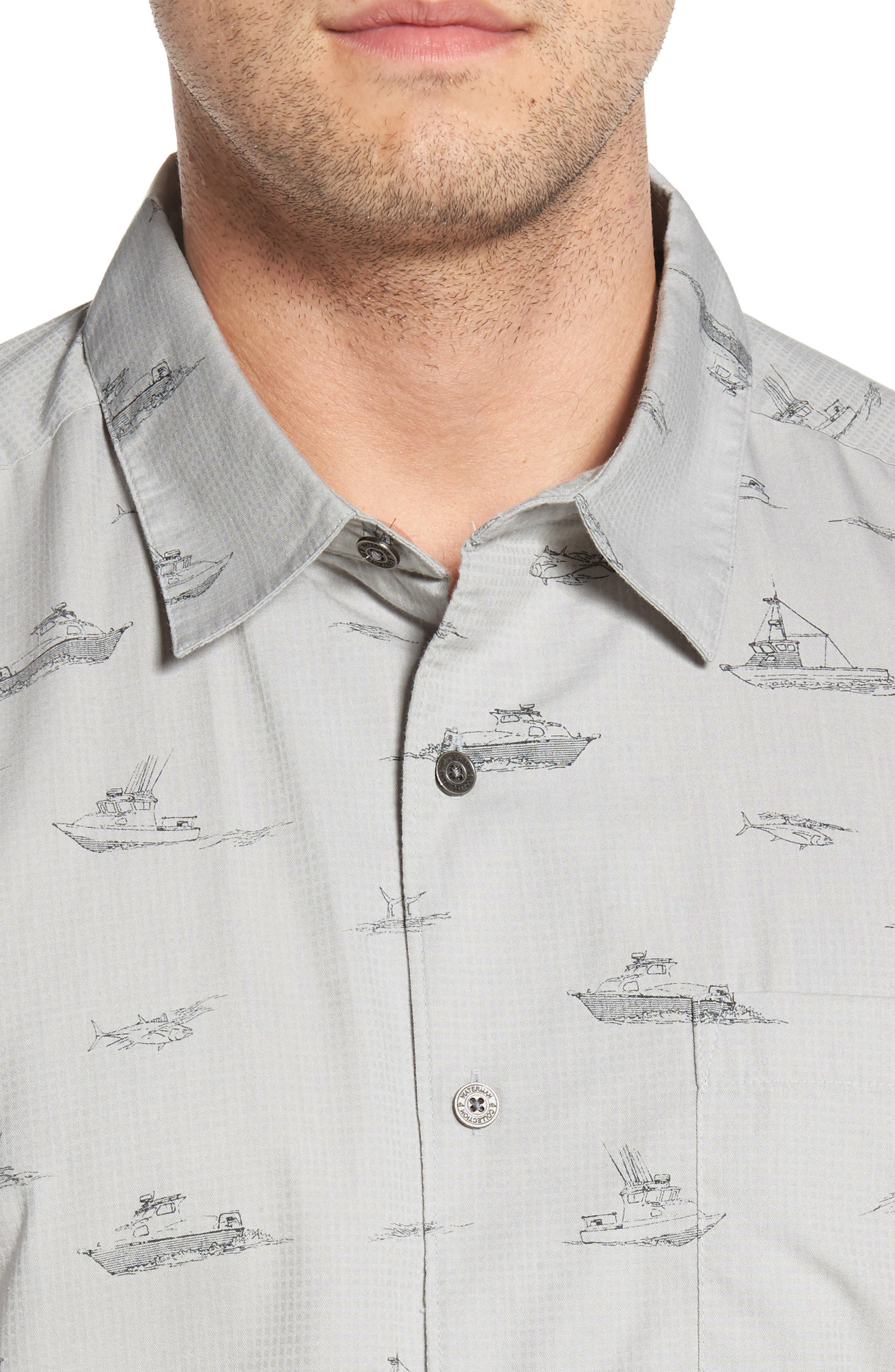 Channel Cruising Classic Fit Sport Shirt,                             Alternate thumbnail 4, color,                             HIGHRISE