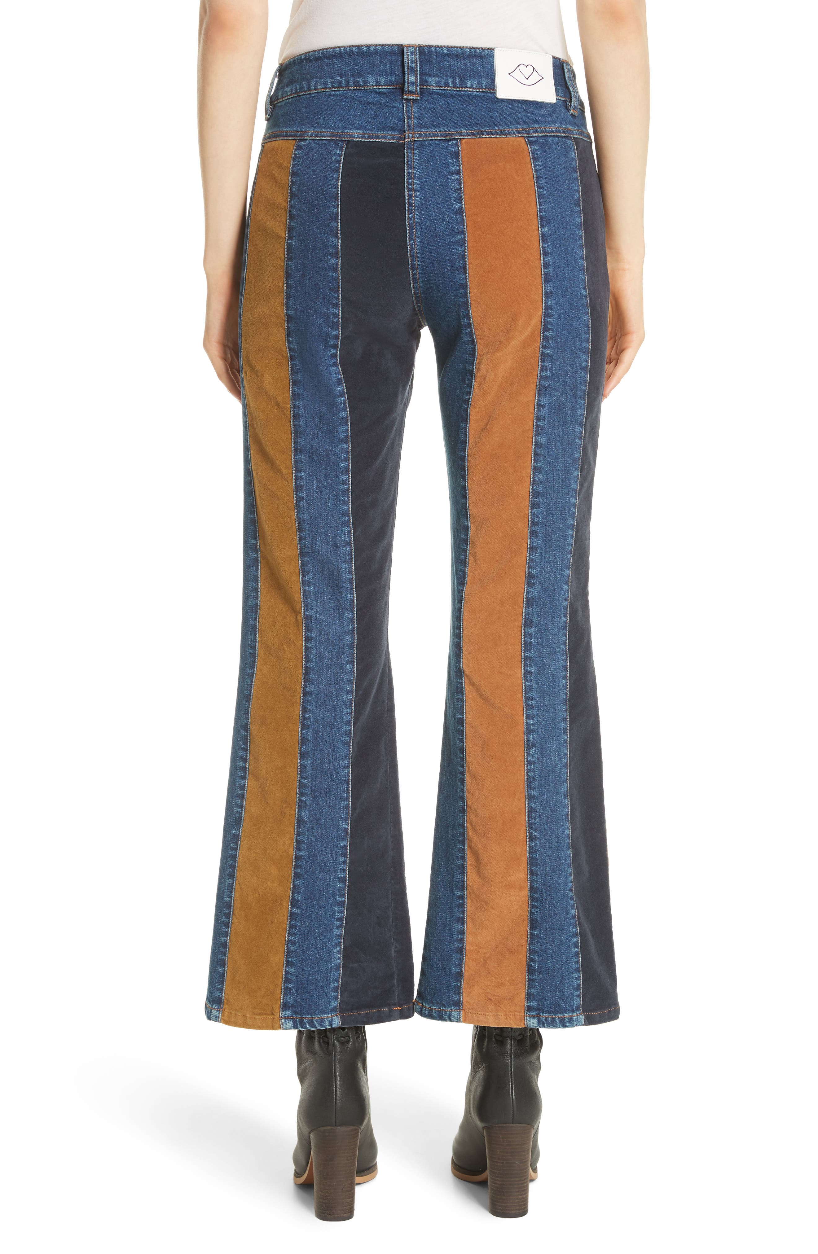 Paneled Crop Flare Jeans,                             Alternate thumbnail 2, color,                             400