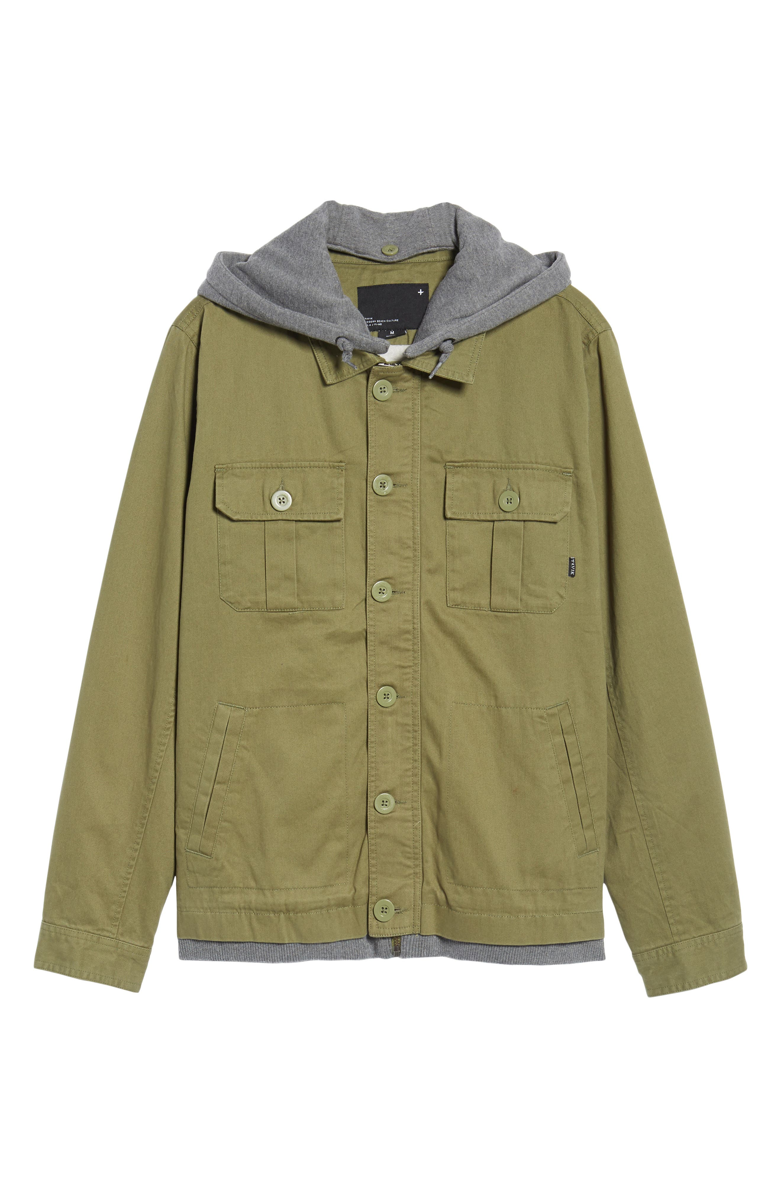 Droogs Field Jacket with Detachable Hood,                             Alternate thumbnail 5, color,                             001