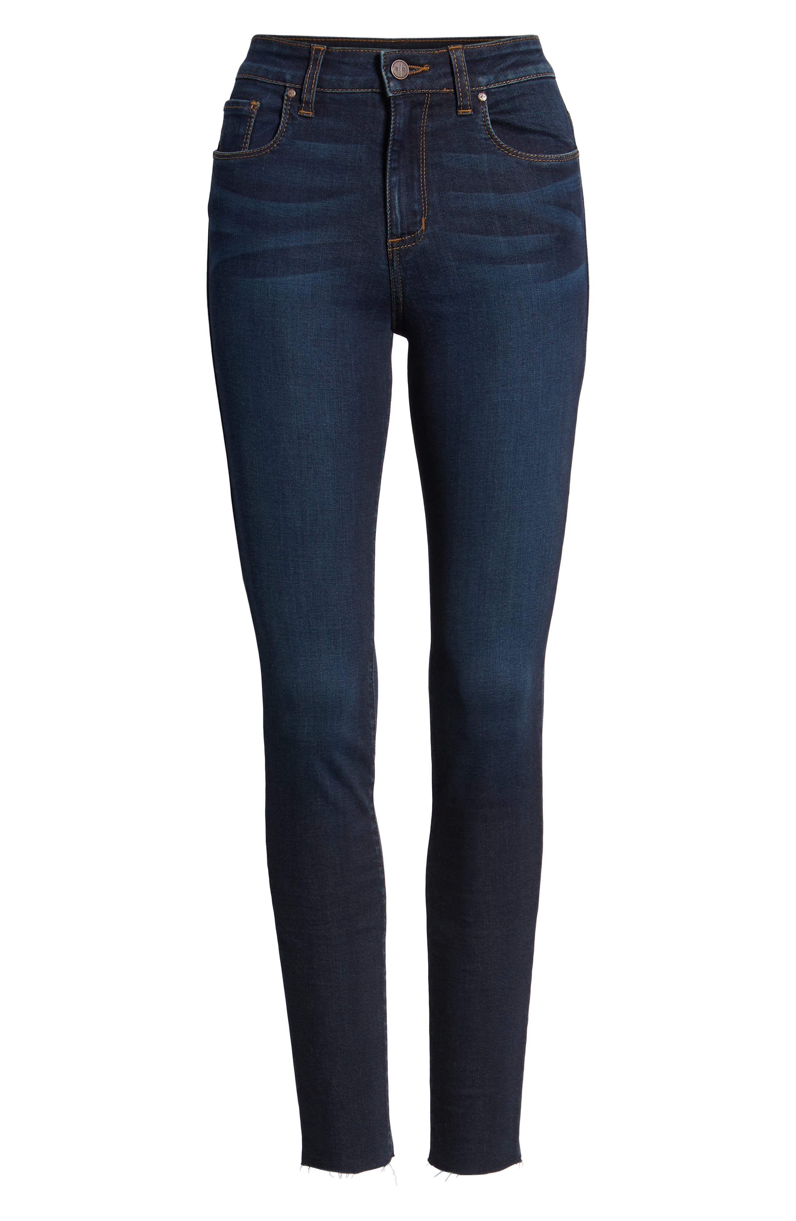 High Waist Cutoff Skinny Jeans,                             Alternate thumbnail 7, color,                             400