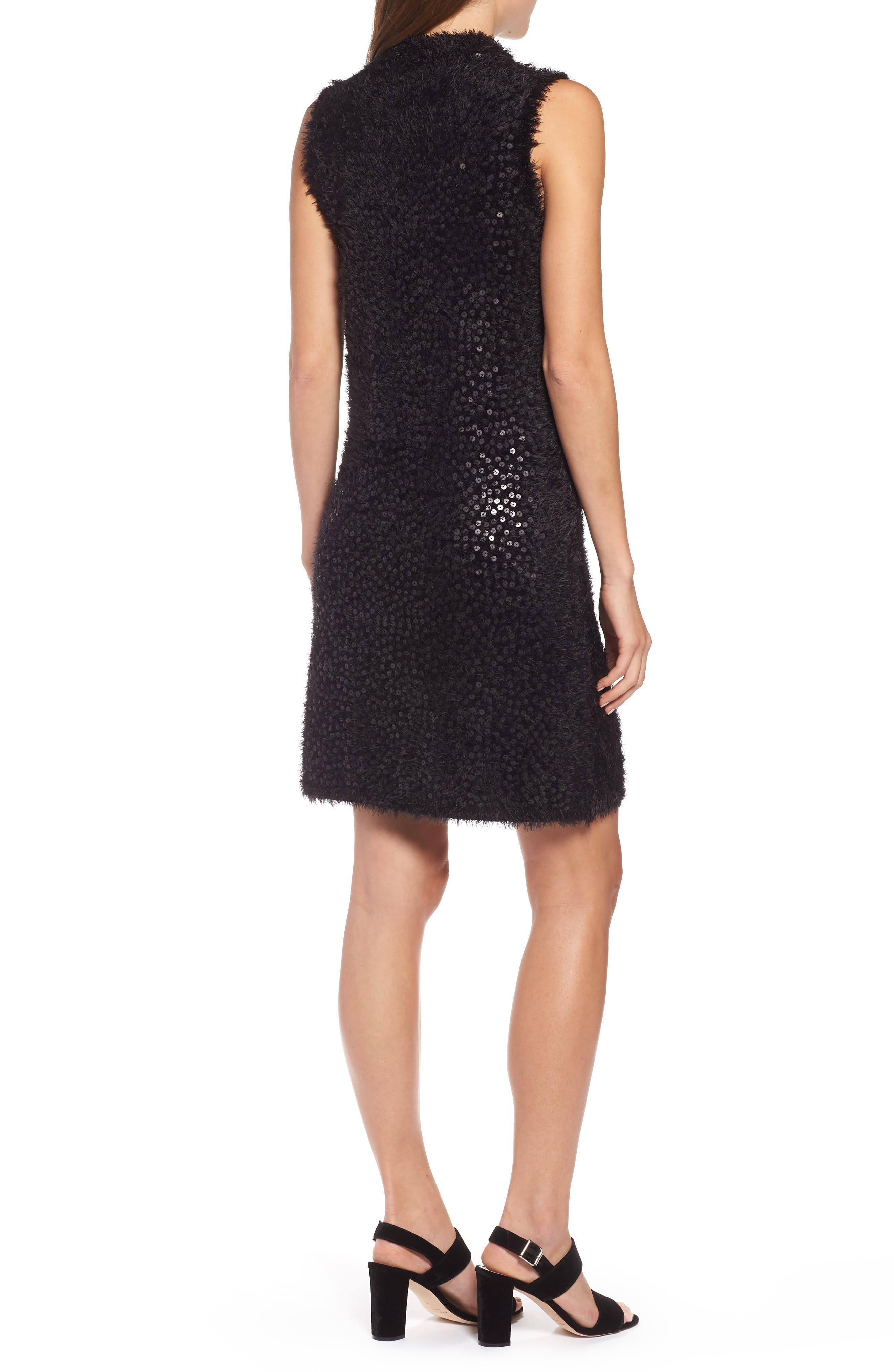 Cozy Sequin Dress,                             Alternate thumbnail 2, color,                             BLACK ONYX