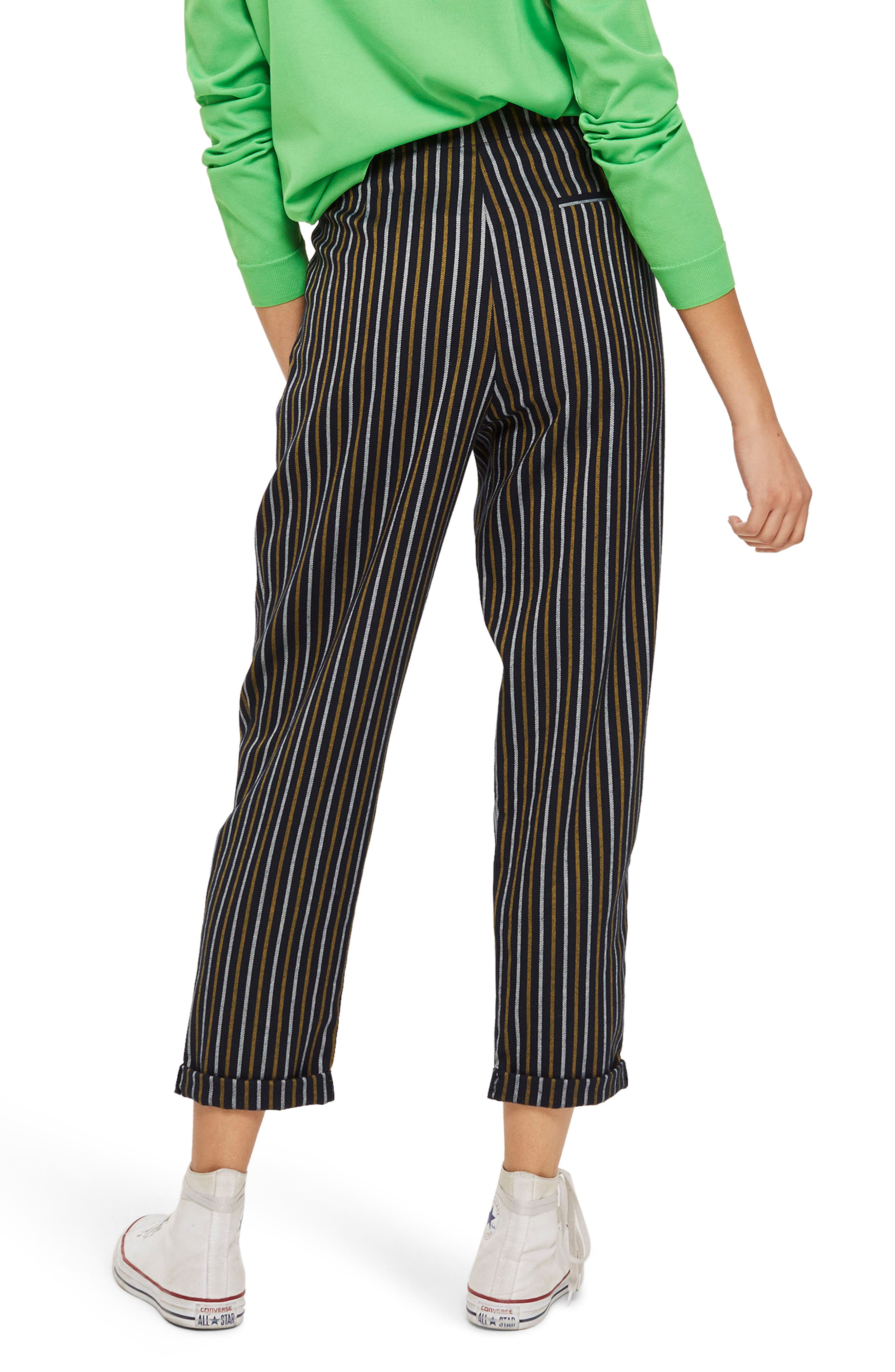 Button Front Stripe Tapered Trousers,                             Alternate thumbnail 4, color,