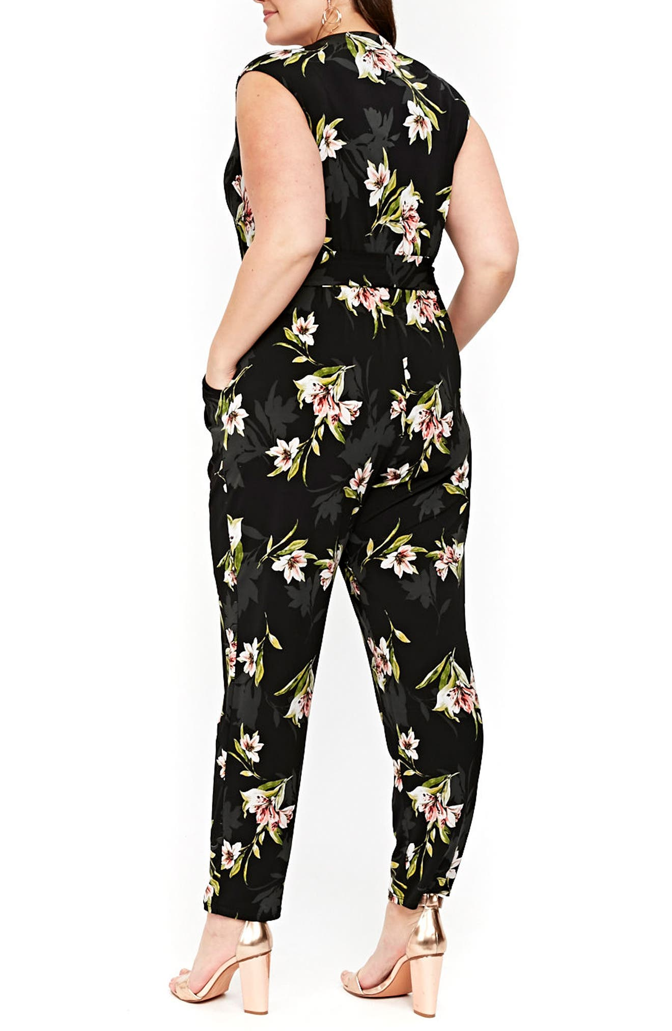 Floral Print Wrap Jumpsuit,                             Alternate thumbnail 2, color,                             006