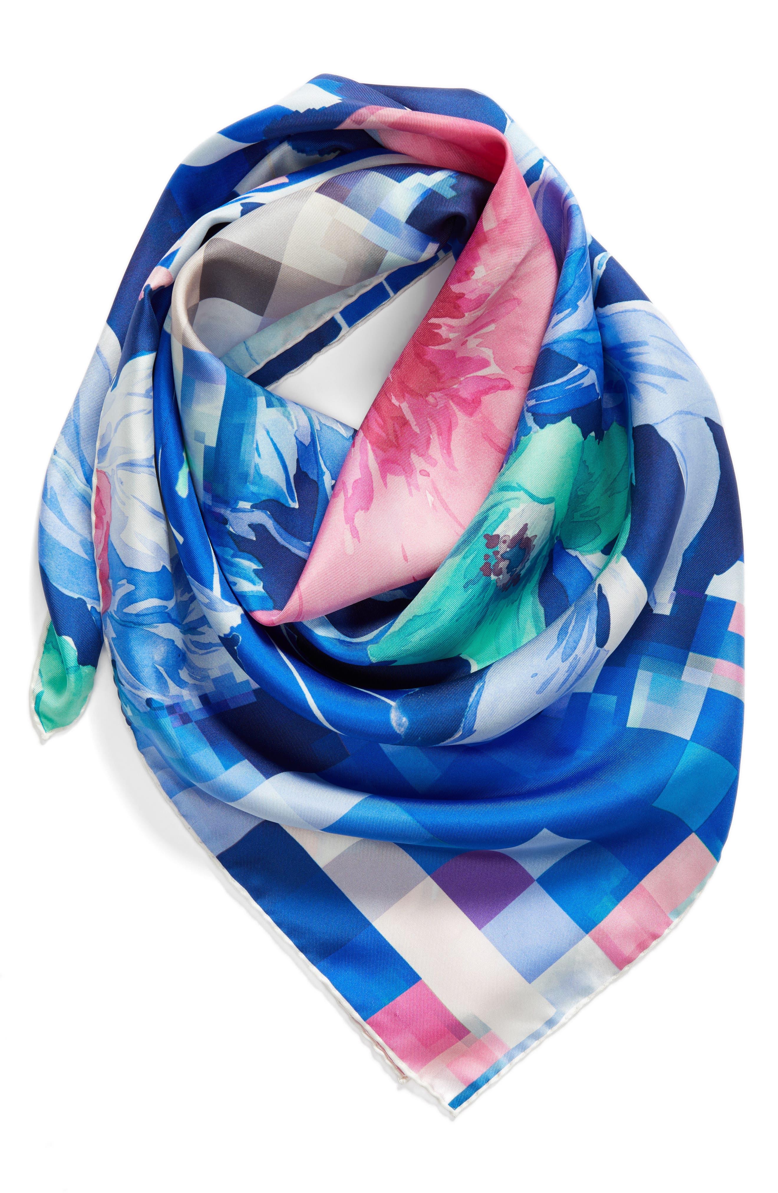 Fuori Fuoco Square Silk Scarf,                             Alternate thumbnail 3, color,                             ROYAL