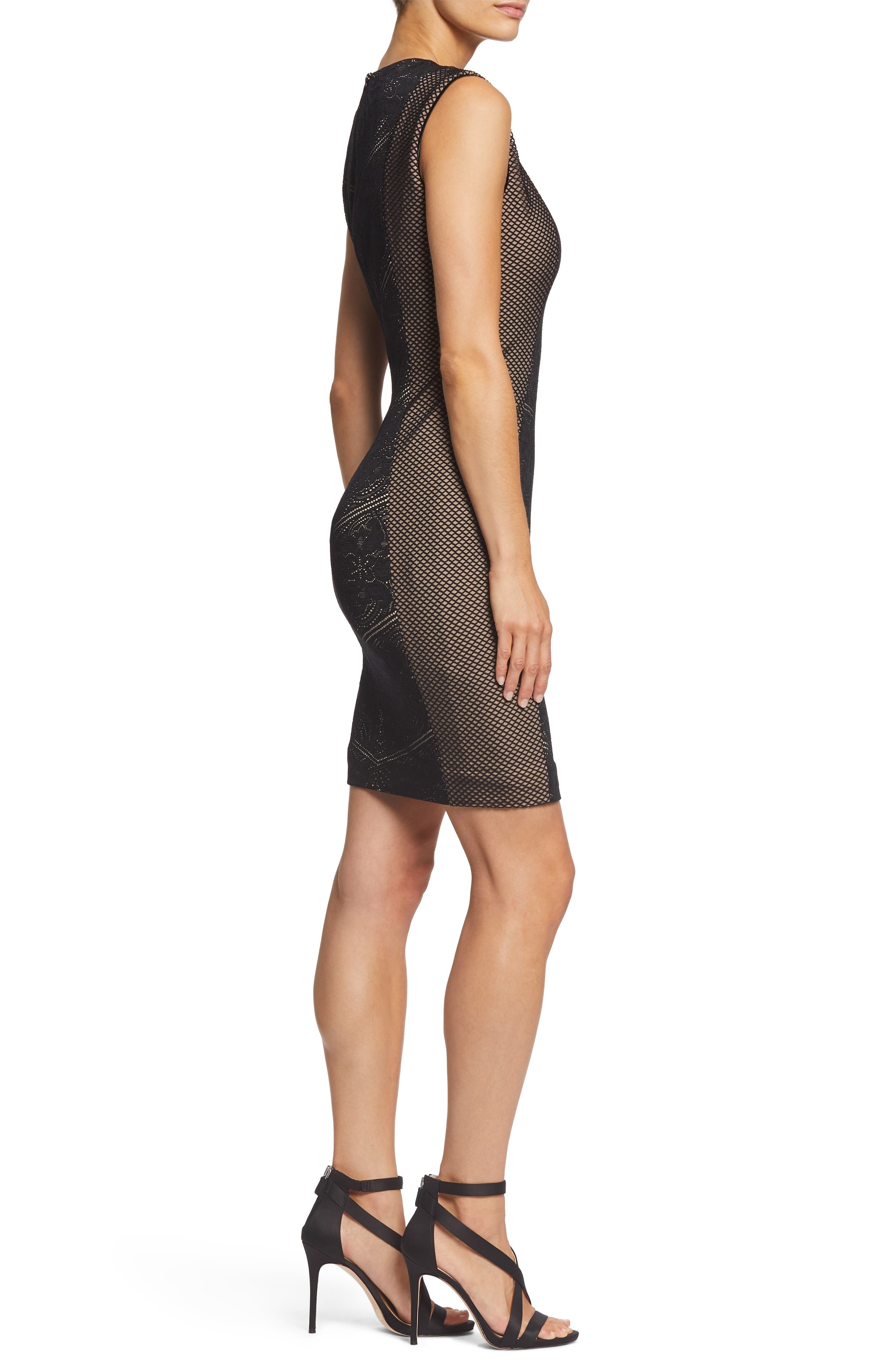 Tori Lace Overlay Body-Con Dress,                             Alternate thumbnail 3, color,                             BLACK