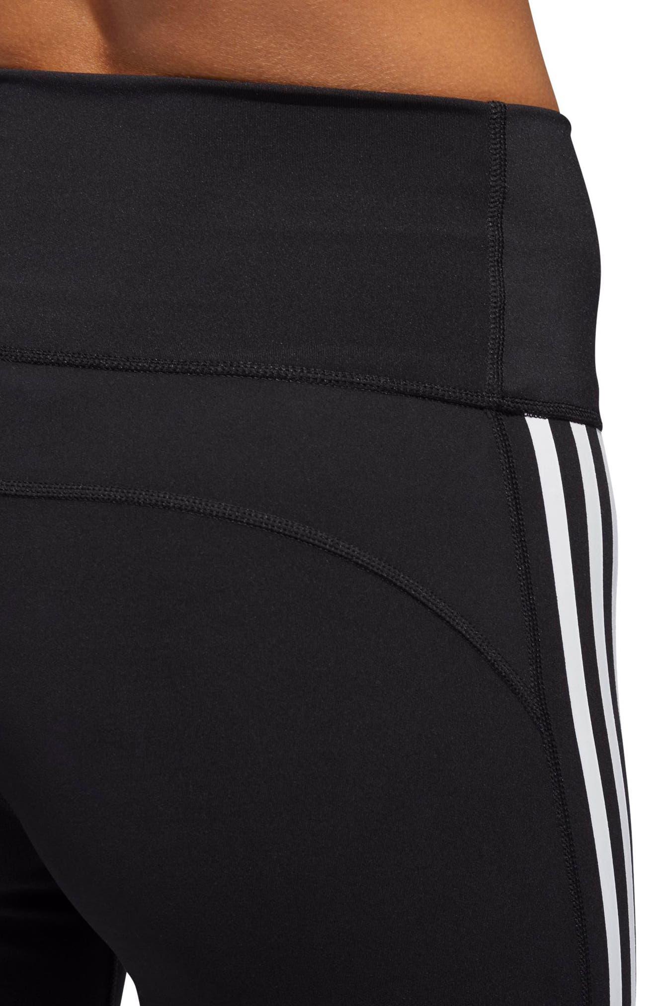 Believe This 3-Stripes High Waist Ankle Leggings,                             Alternate thumbnail 8, color,                             BLACK/ WHITE