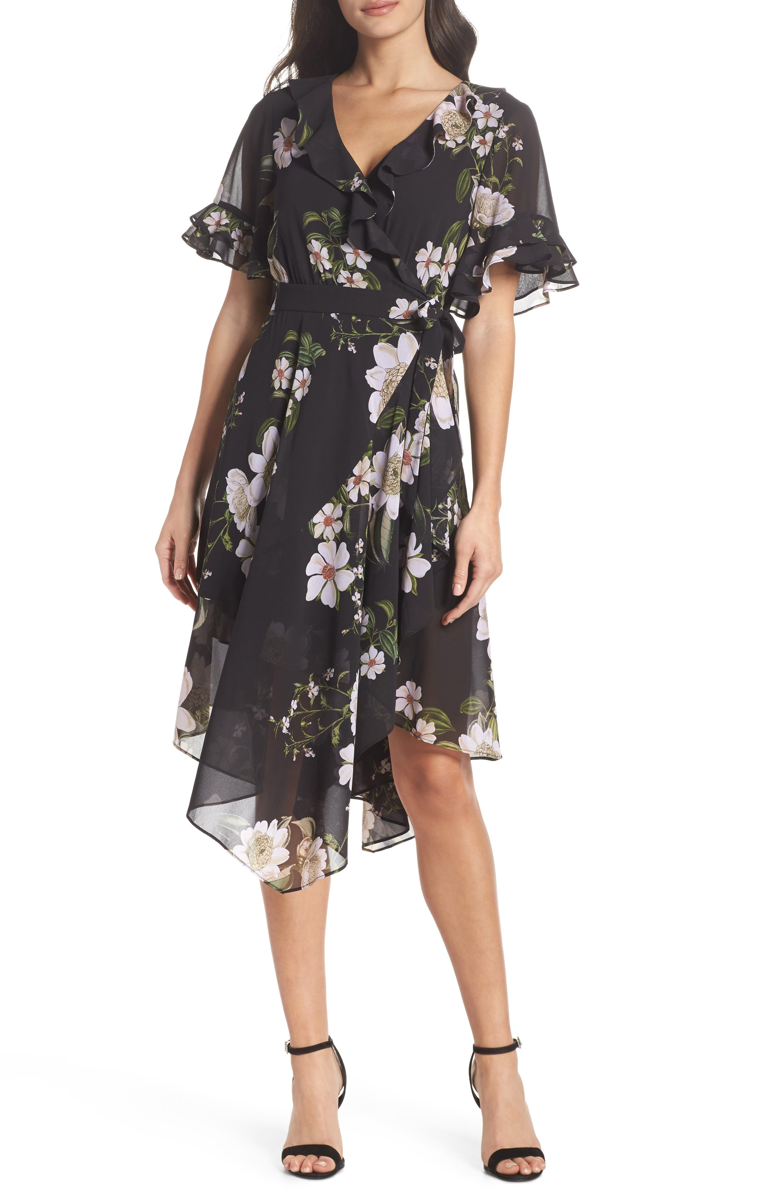 Floral Print Wrap Dress,                             Main thumbnail 1, color,                             001
