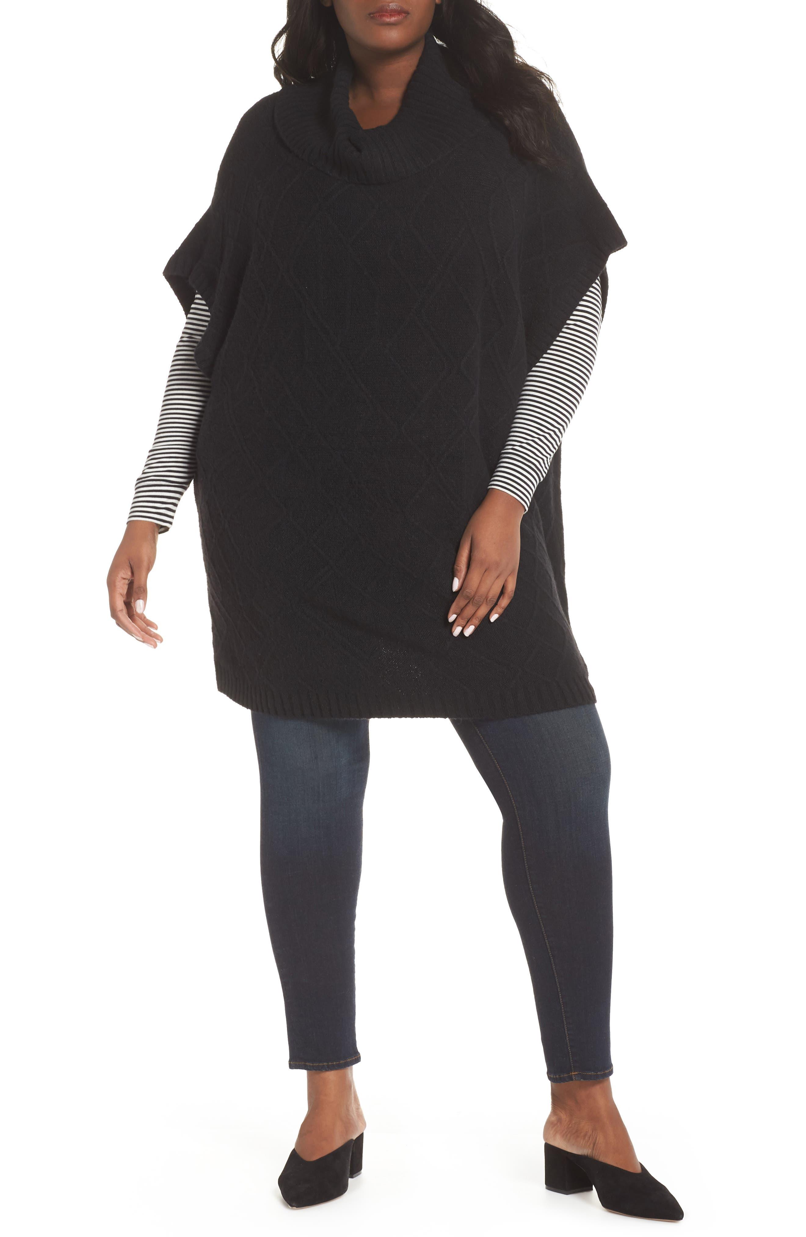 Poncho Sweater,                             Main thumbnail 1, color,                             BLACK
