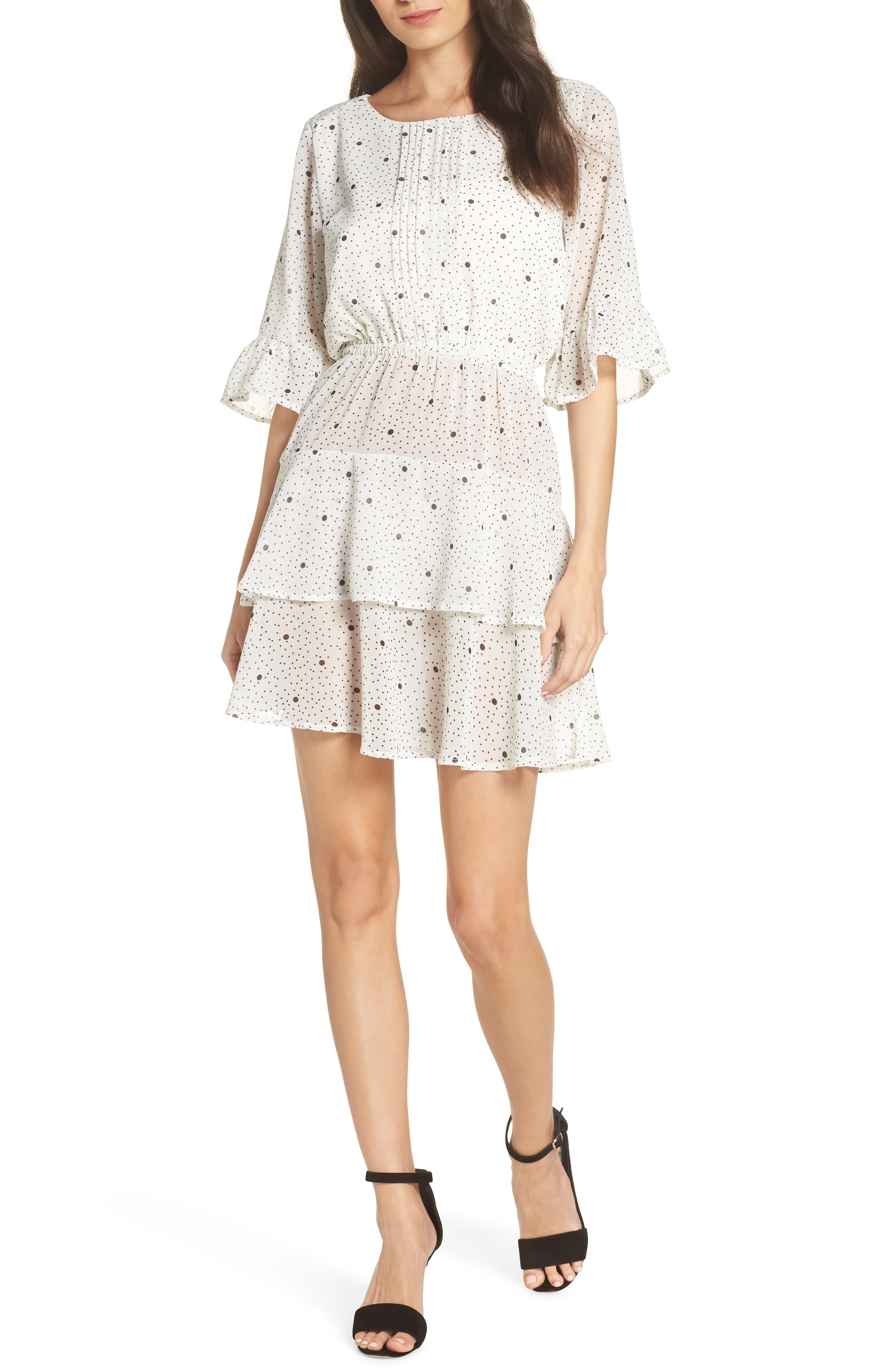 Bb Dakota Dots On Dots Ruffle Chiffon Minidress, Ivory