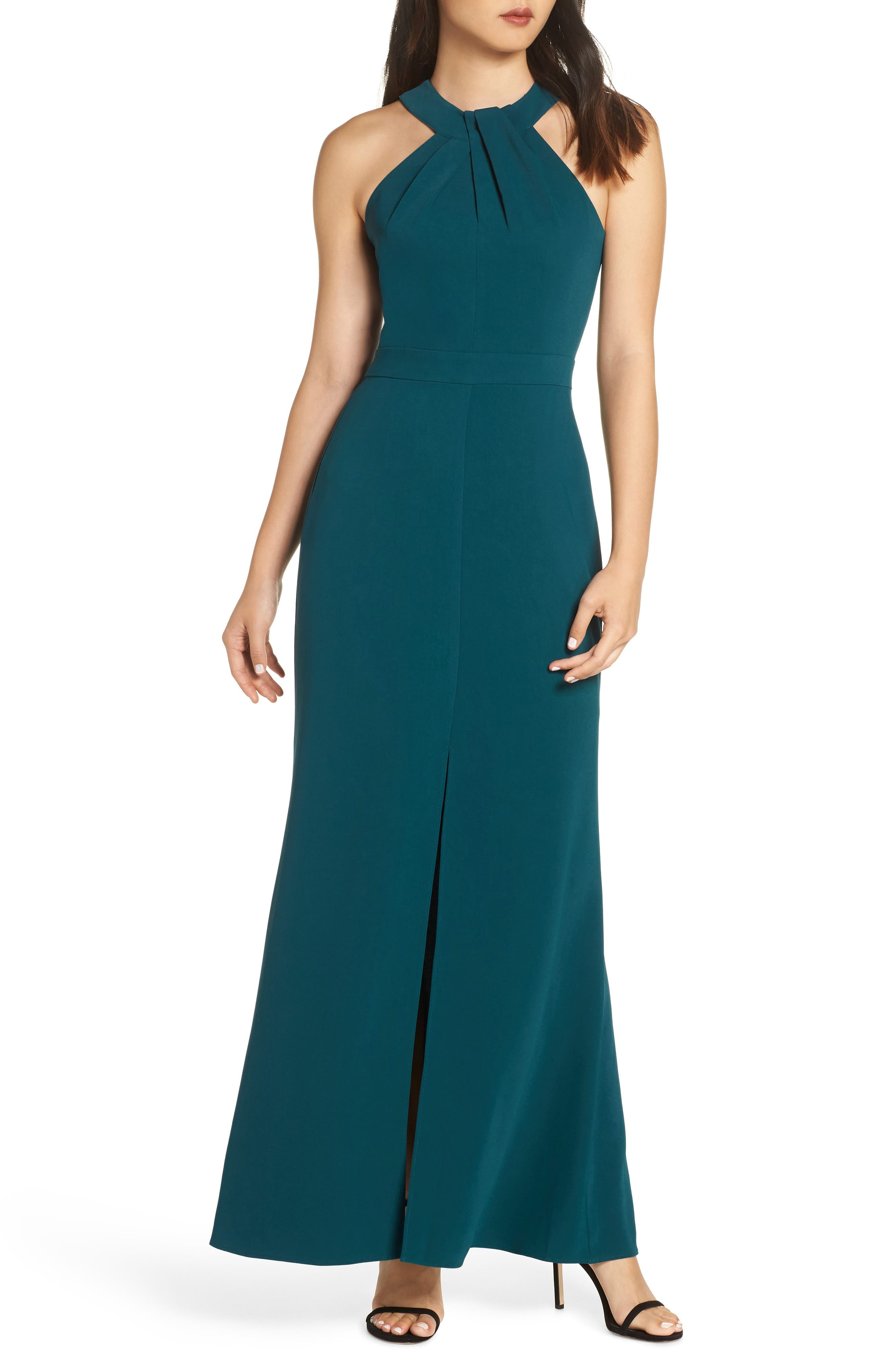 Halter Gown,                             Main thumbnail 1, color,                             FOREST GREEN