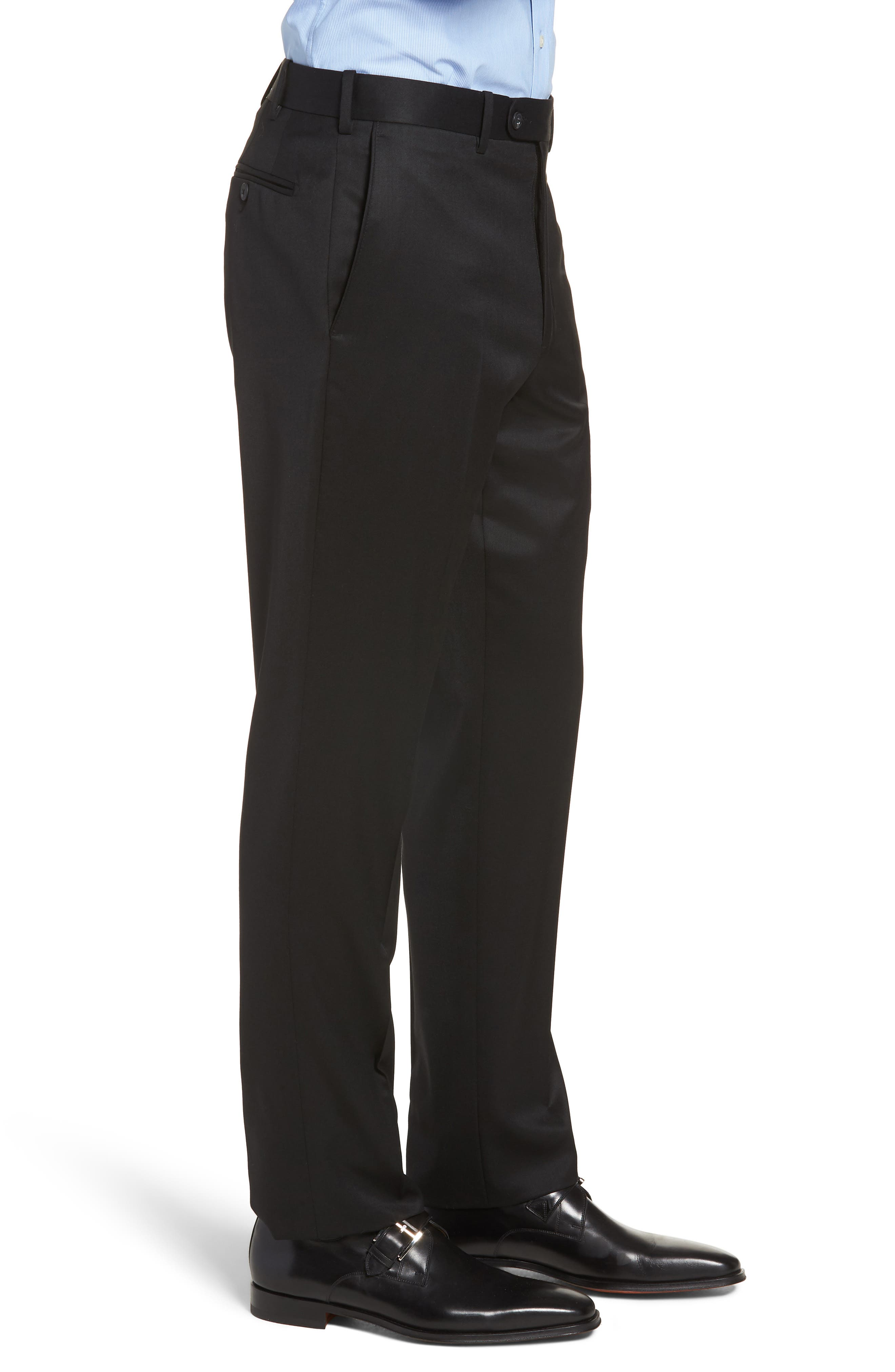 Torino Traditional Fit Flat Front Solid Trousers,                             Alternate thumbnail 3, color,                             BLACK
