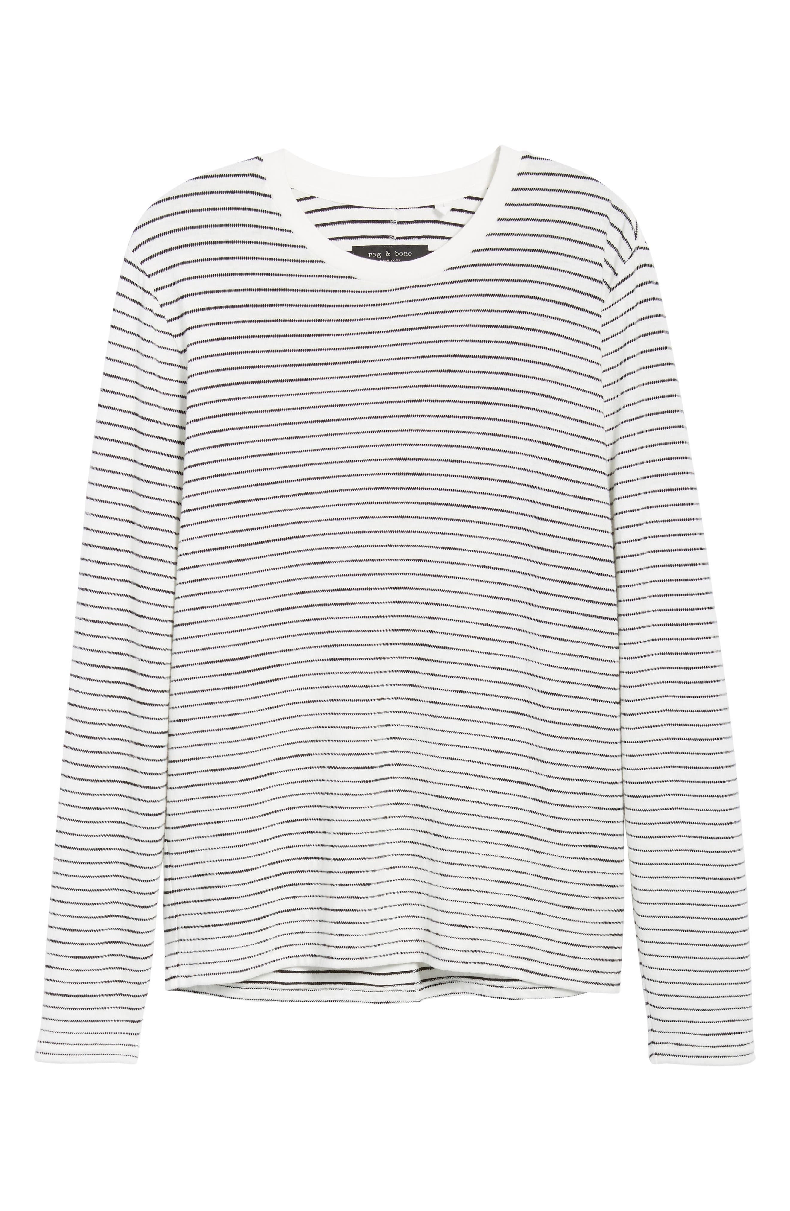 Railroad Stripe Long Sleeve T-Shirt,                             Alternate thumbnail 6, color,                             IVORY/ BLACK