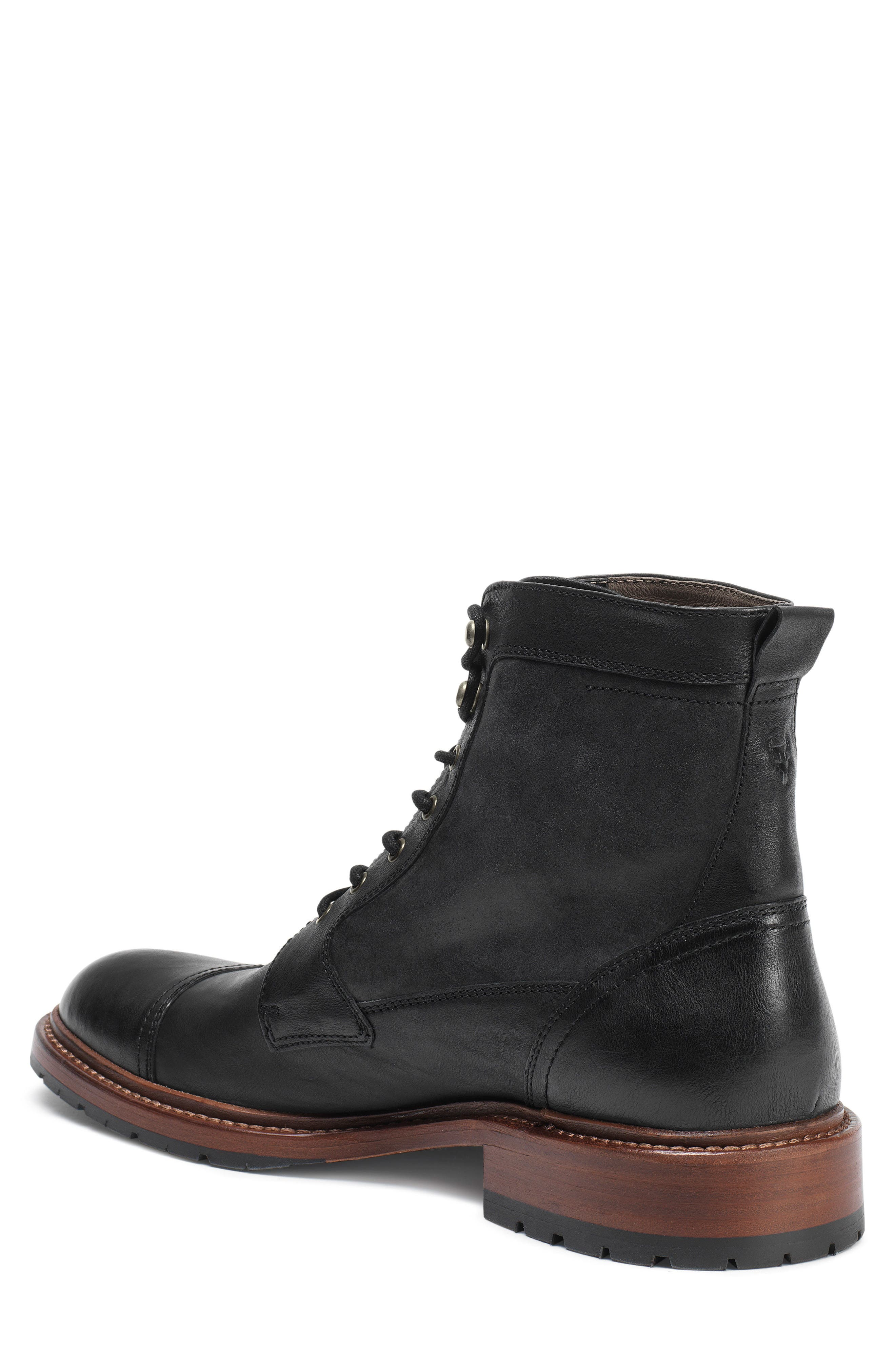 'Lowell' Cap Toe Boot,                             Alternate thumbnail 2, color,                             BLACK WASHED LEATHER