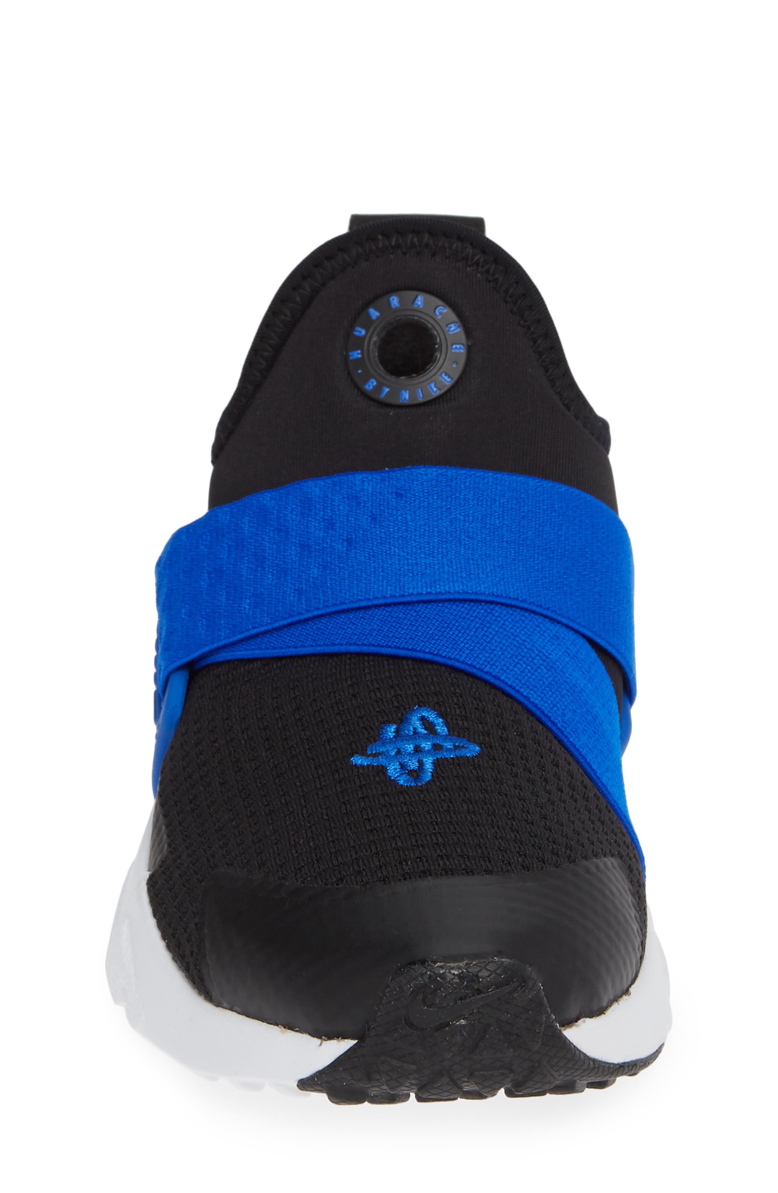 Huarache Extreme Sneaker,                             Alternate thumbnail 4, color,                             BLACK/ BLUE-WHITE
