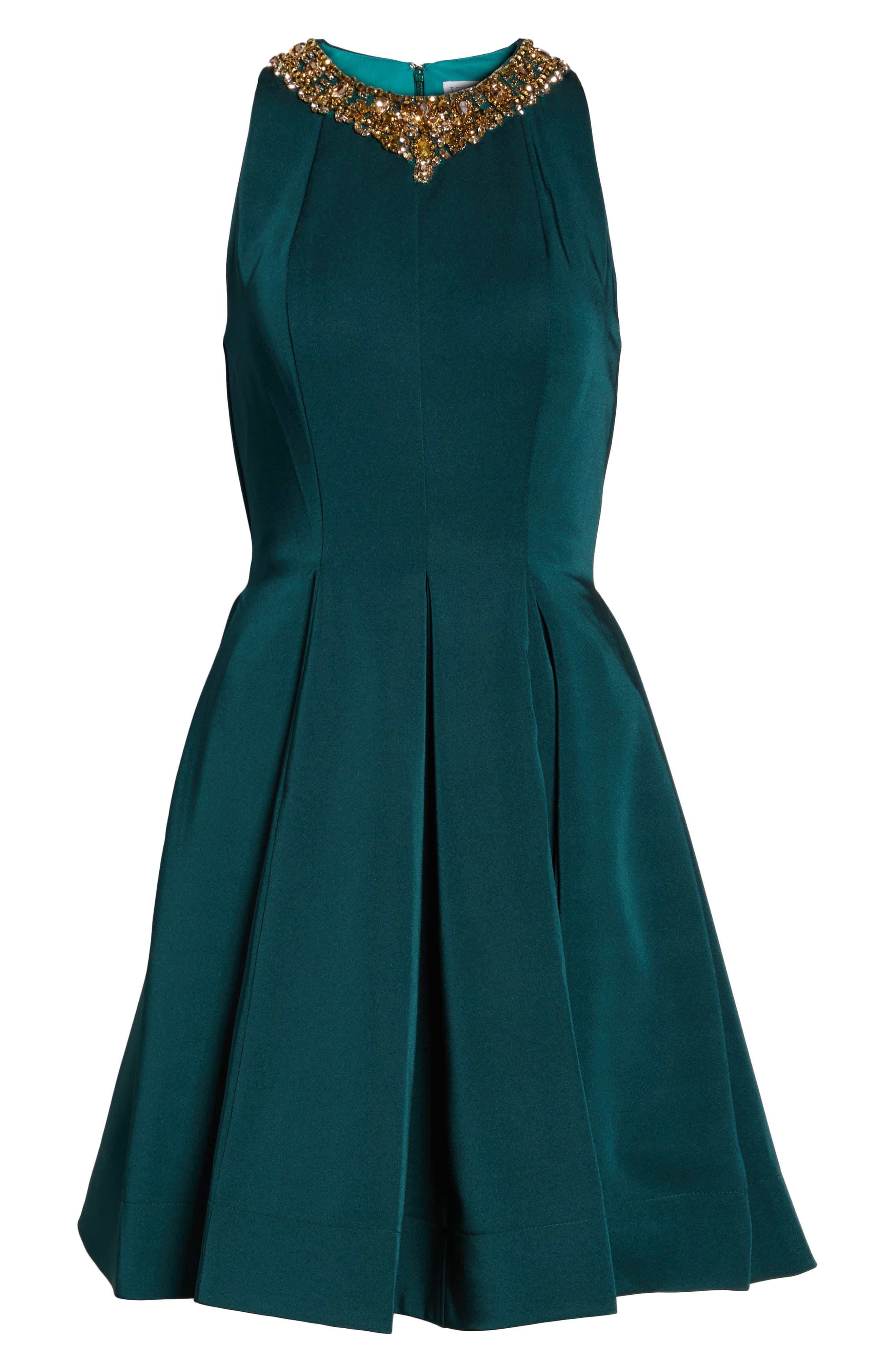 Embellished Fit & Flare Dress,                             Alternate thumbnail 7, color,                             EMERALD