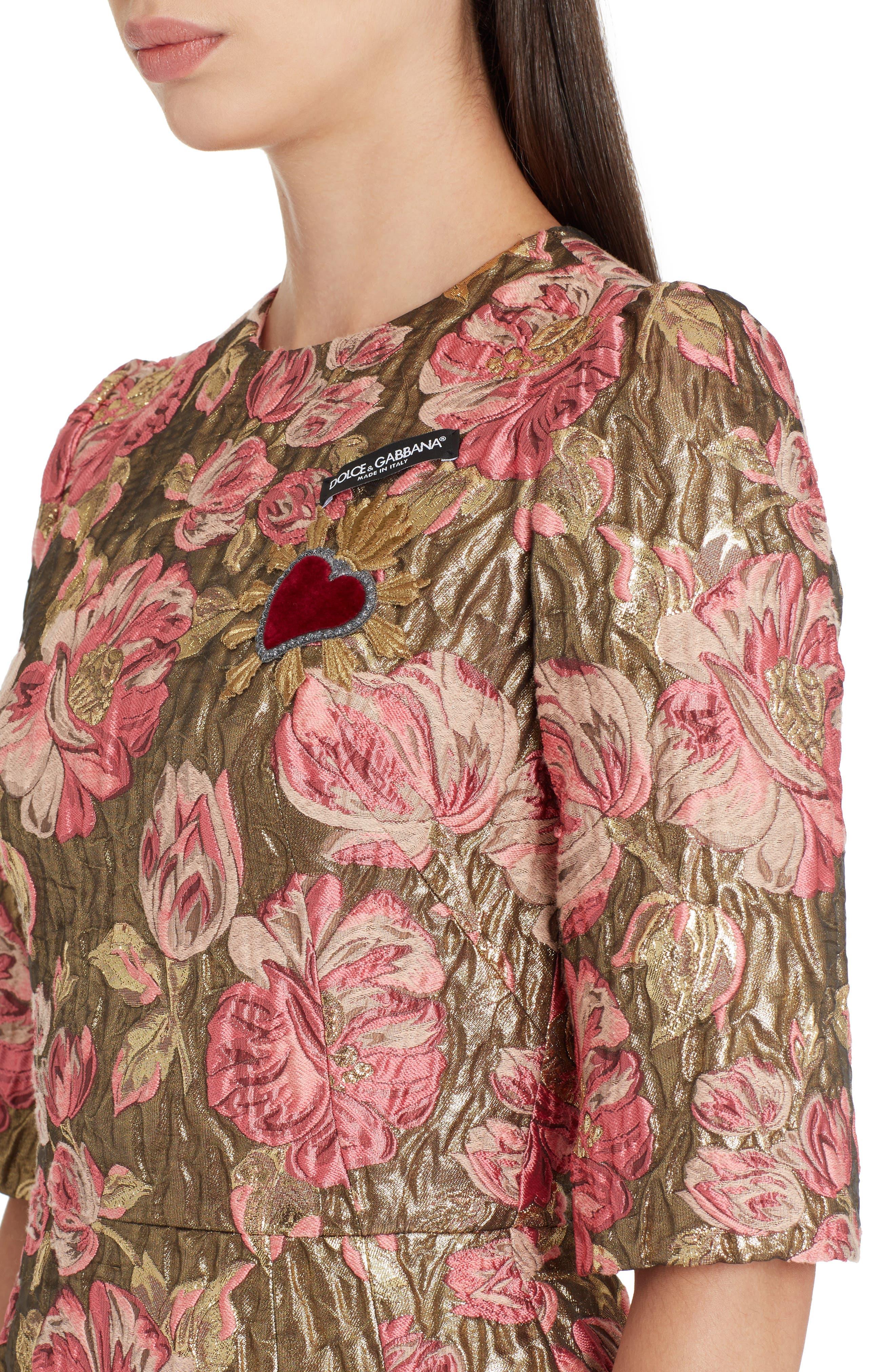 Heart Patch Metallic Floral Jacquard Dress,                             Alternate thumbnail 4, color,