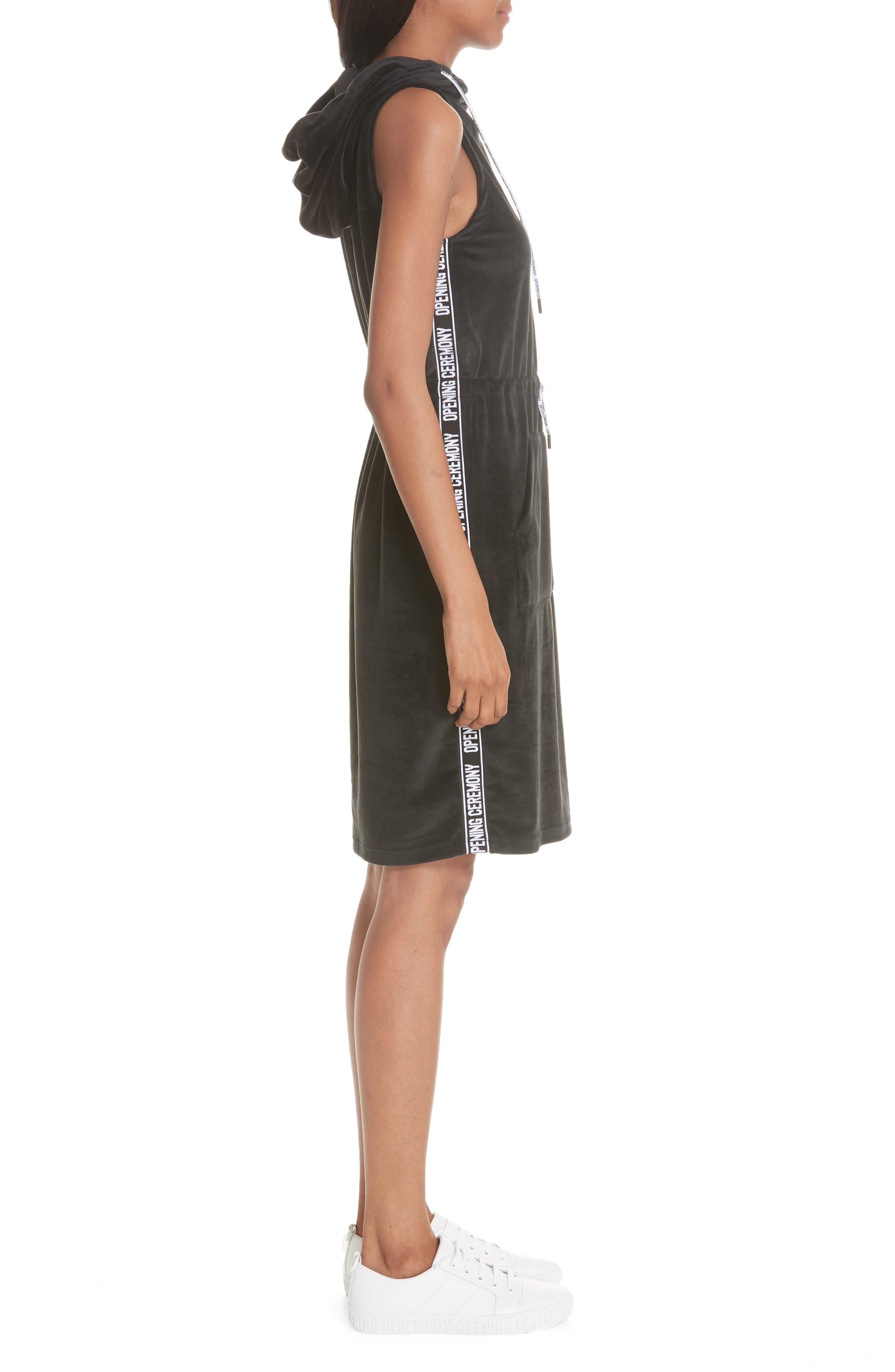Velour Hoodie Dress,                             Alternate thumbnail 3, color,                             BLACK