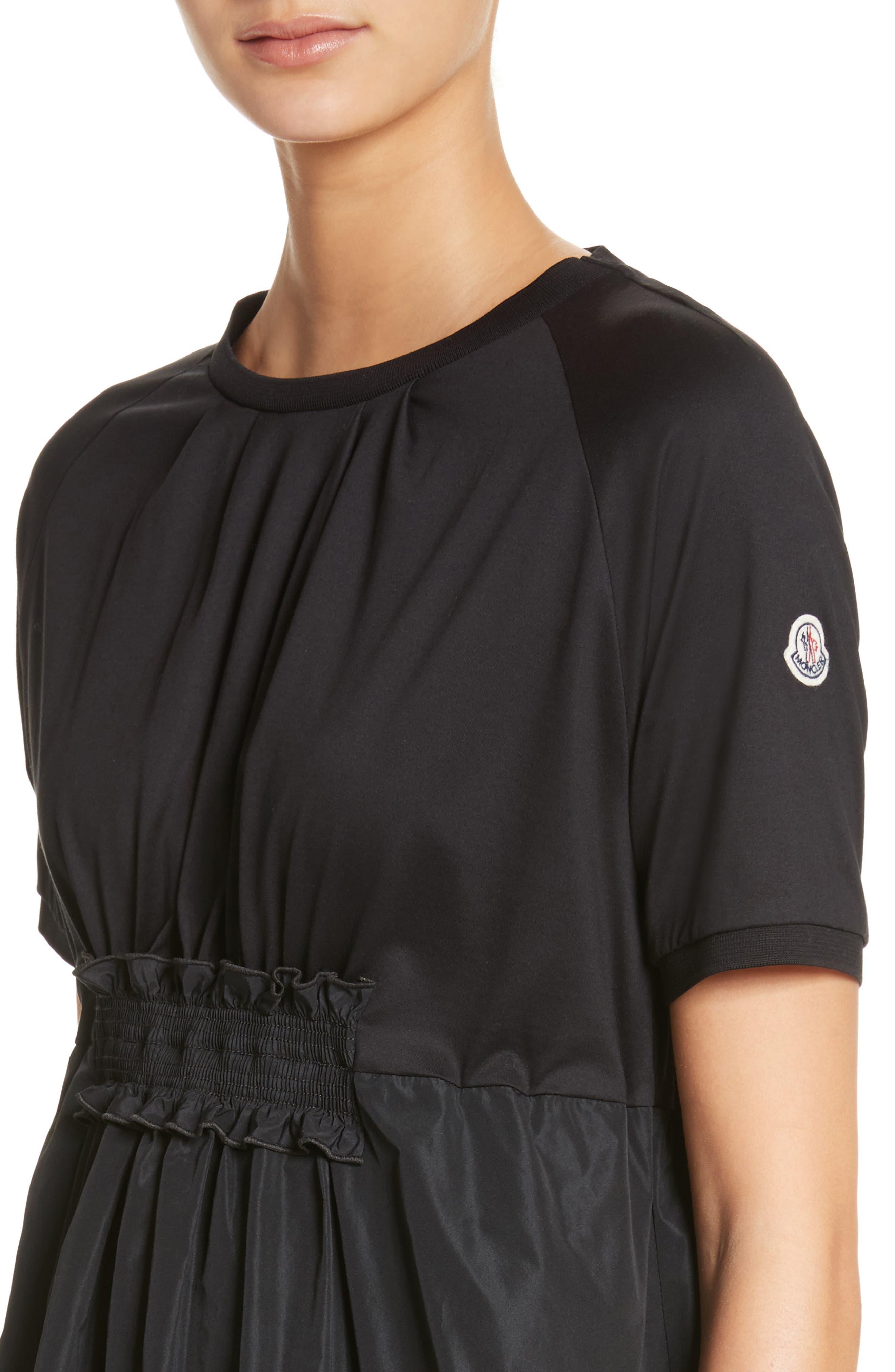 Abito Shirred Midi Dress,                             Alternate thumbnail 4, color,                             BLACK