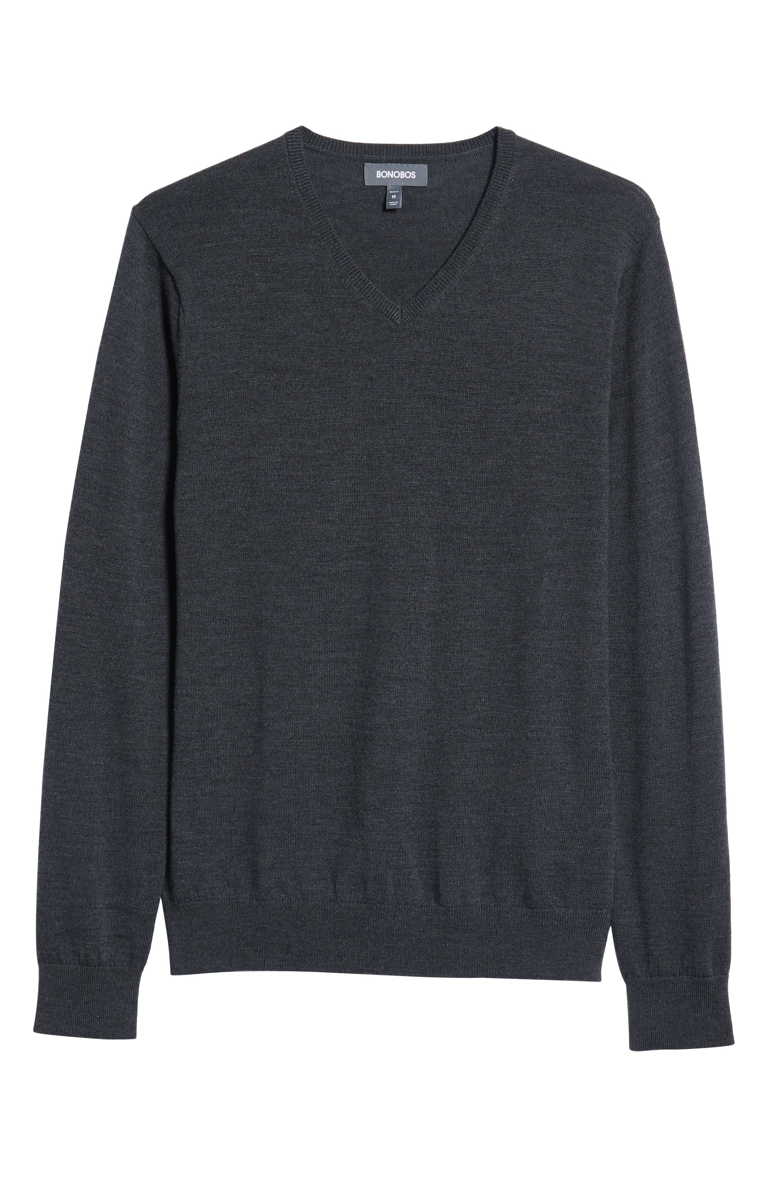 Slim Fit V-Neck Merino Wool Sweater,                             Alternate thumbnail 6, color,                             HEATHER CHARCOAL