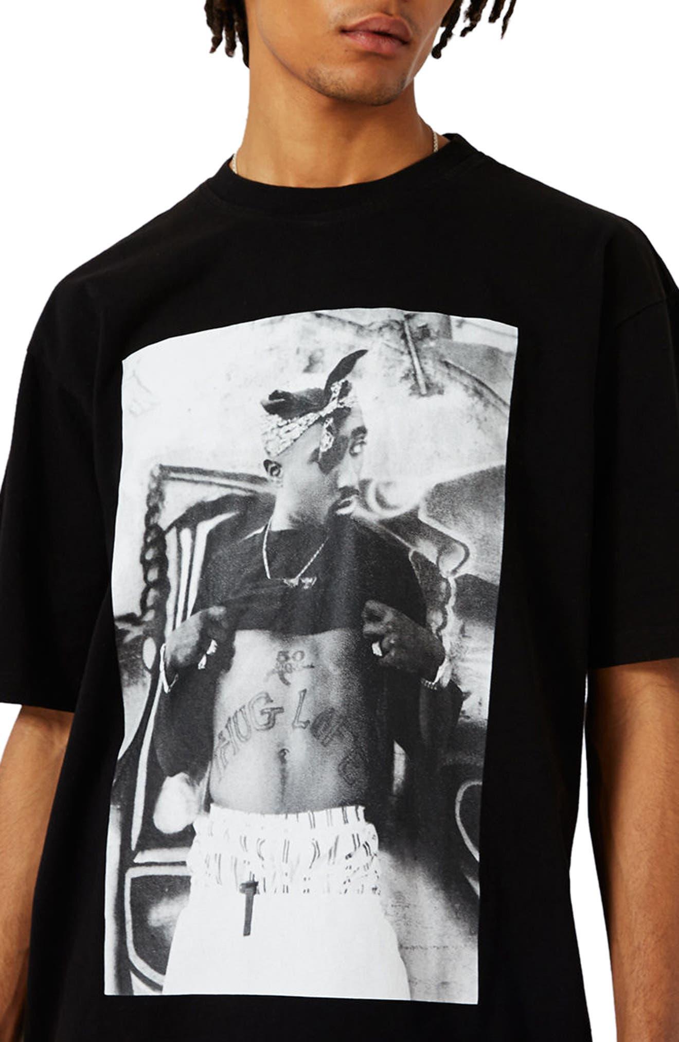 Tupac Graphic Oversize T-Shirt,                             Alternate thumbnail 3, color,                             001