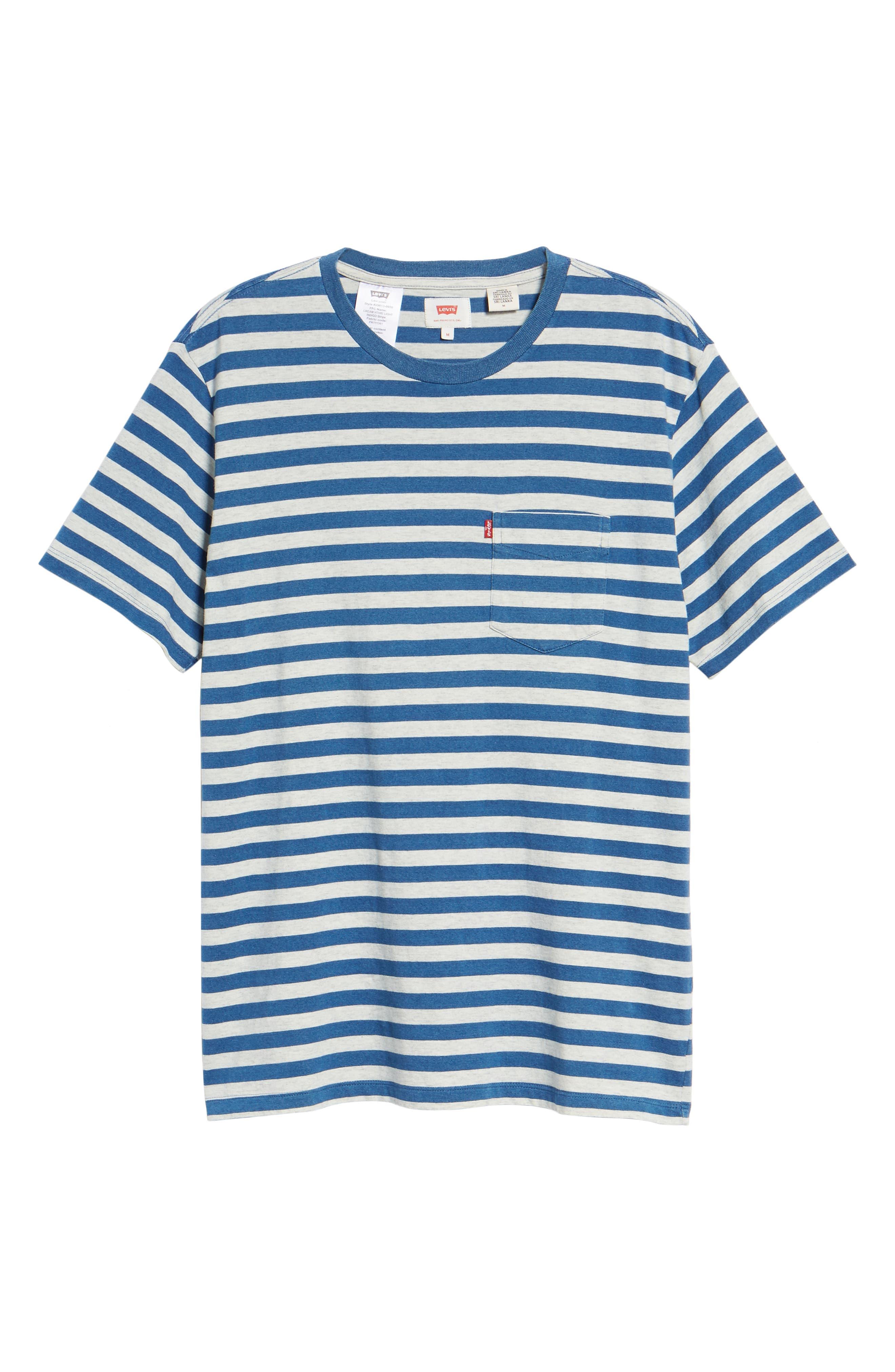 Sunset Stripe Pocket T-Shirt,                             Alternate thumbnail 6, color,                             CREAM HALF INCH STRIPE