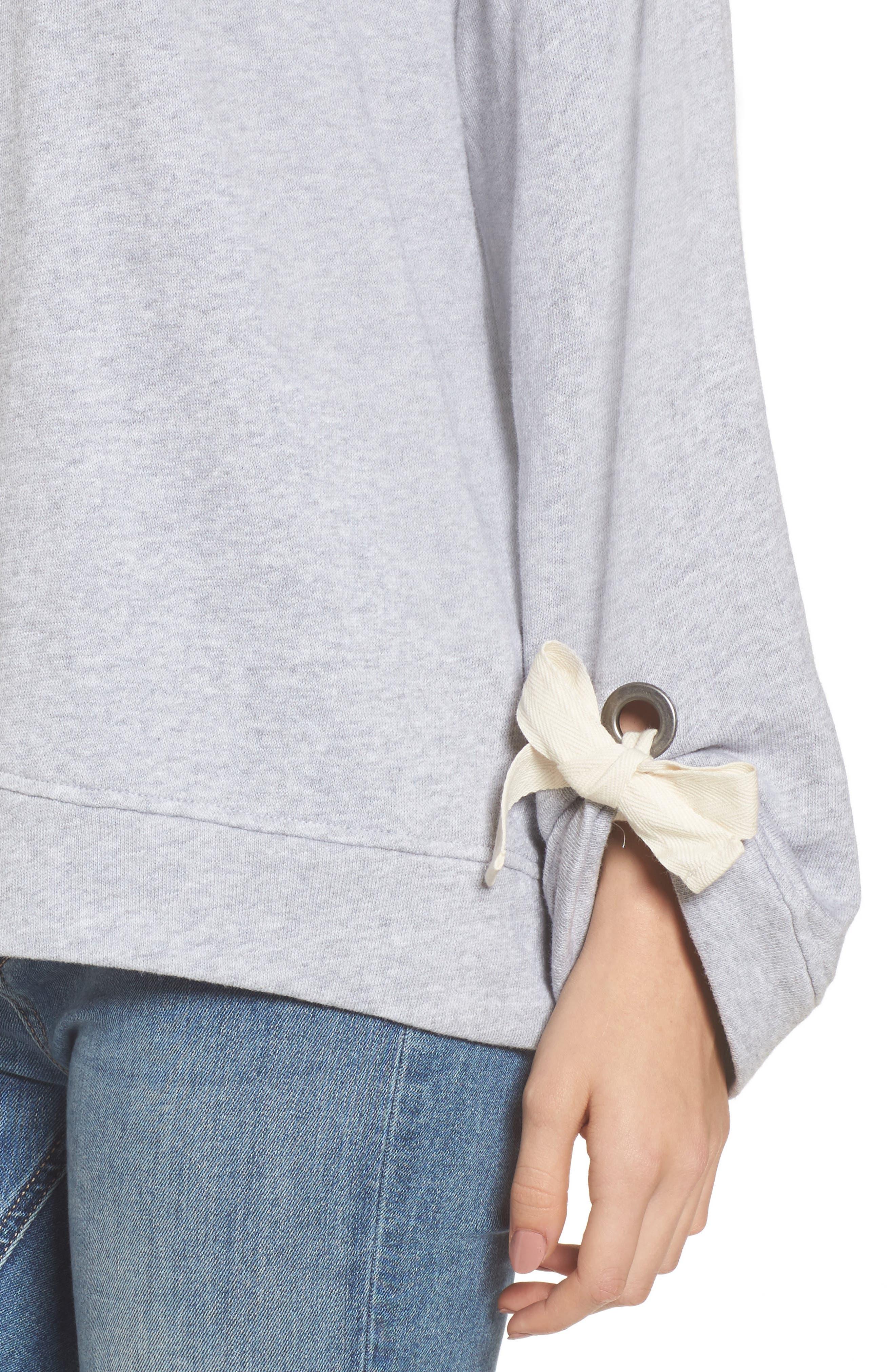 Tie Sleeve Sweater,                             Alternate thumbnail 7, color,