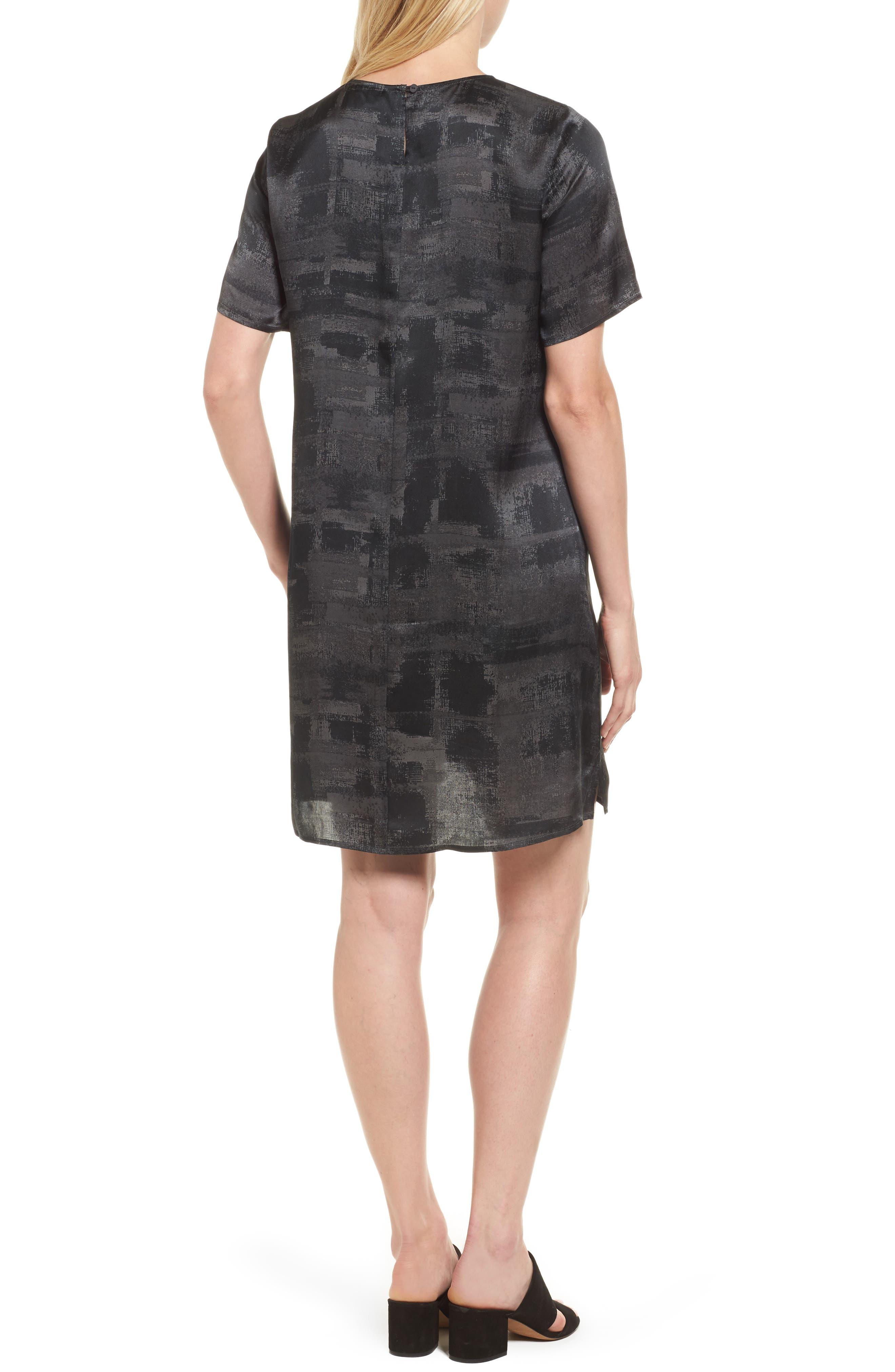Print Silk Shift Dress,                             Alternate thumbnail 2, color,                             210