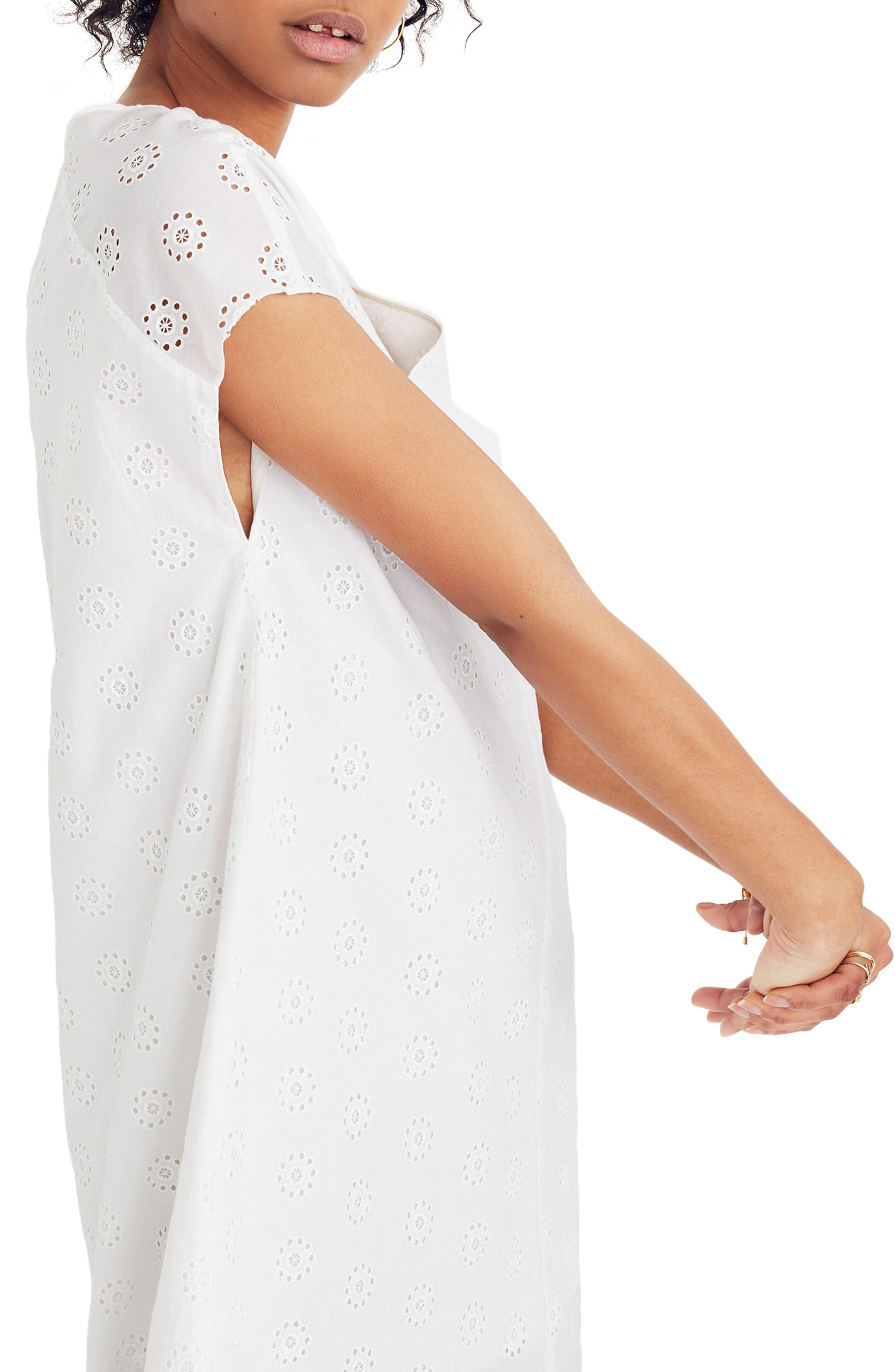 Clipdot Midi Shirtdress,                             Alternate thumbnail 3, color,                             EYELET WHITE