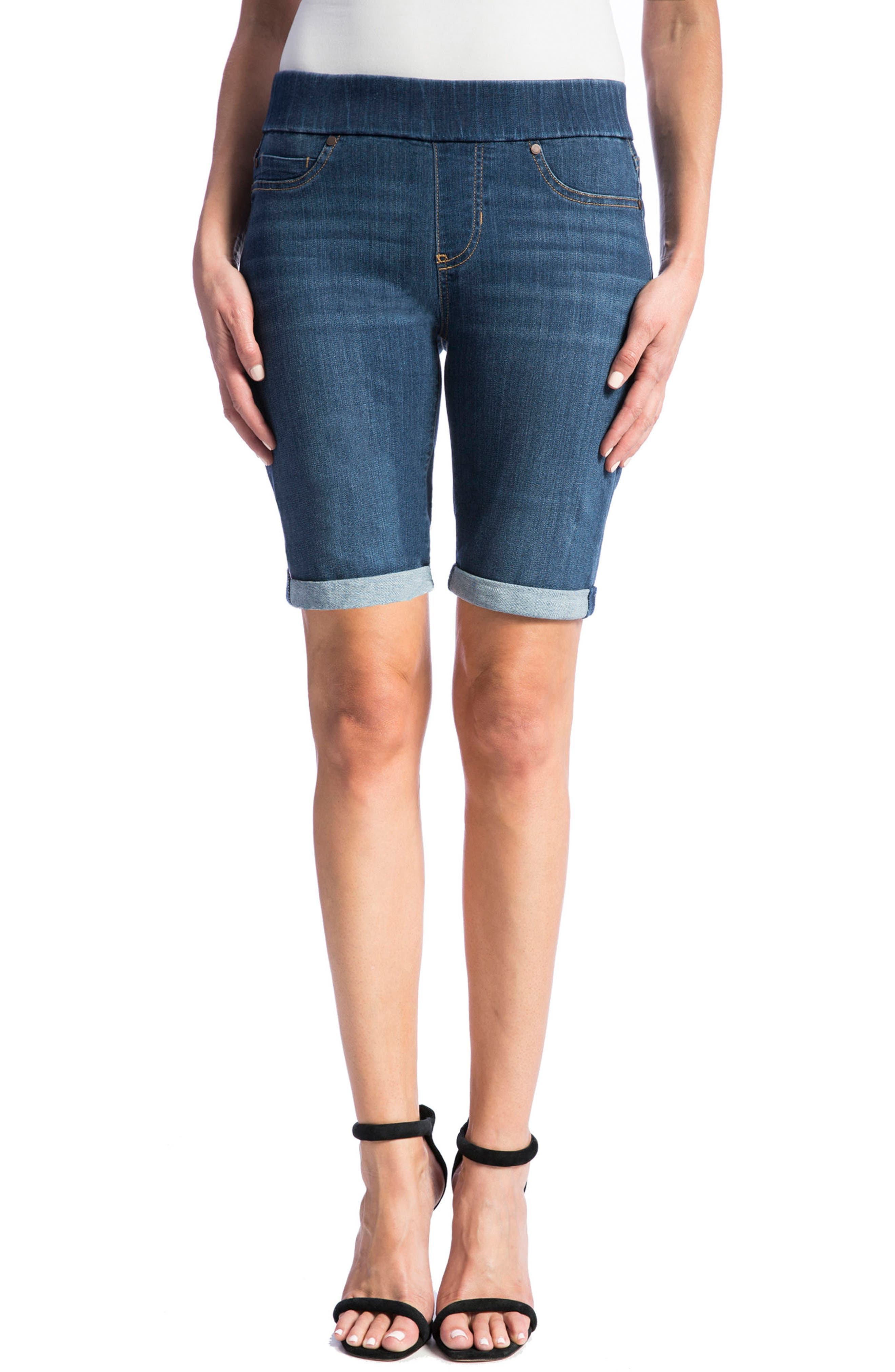 Sienna Pull-On Denim Bermuda Shorts,                         Main,                         color, ELYSIAN DARK
