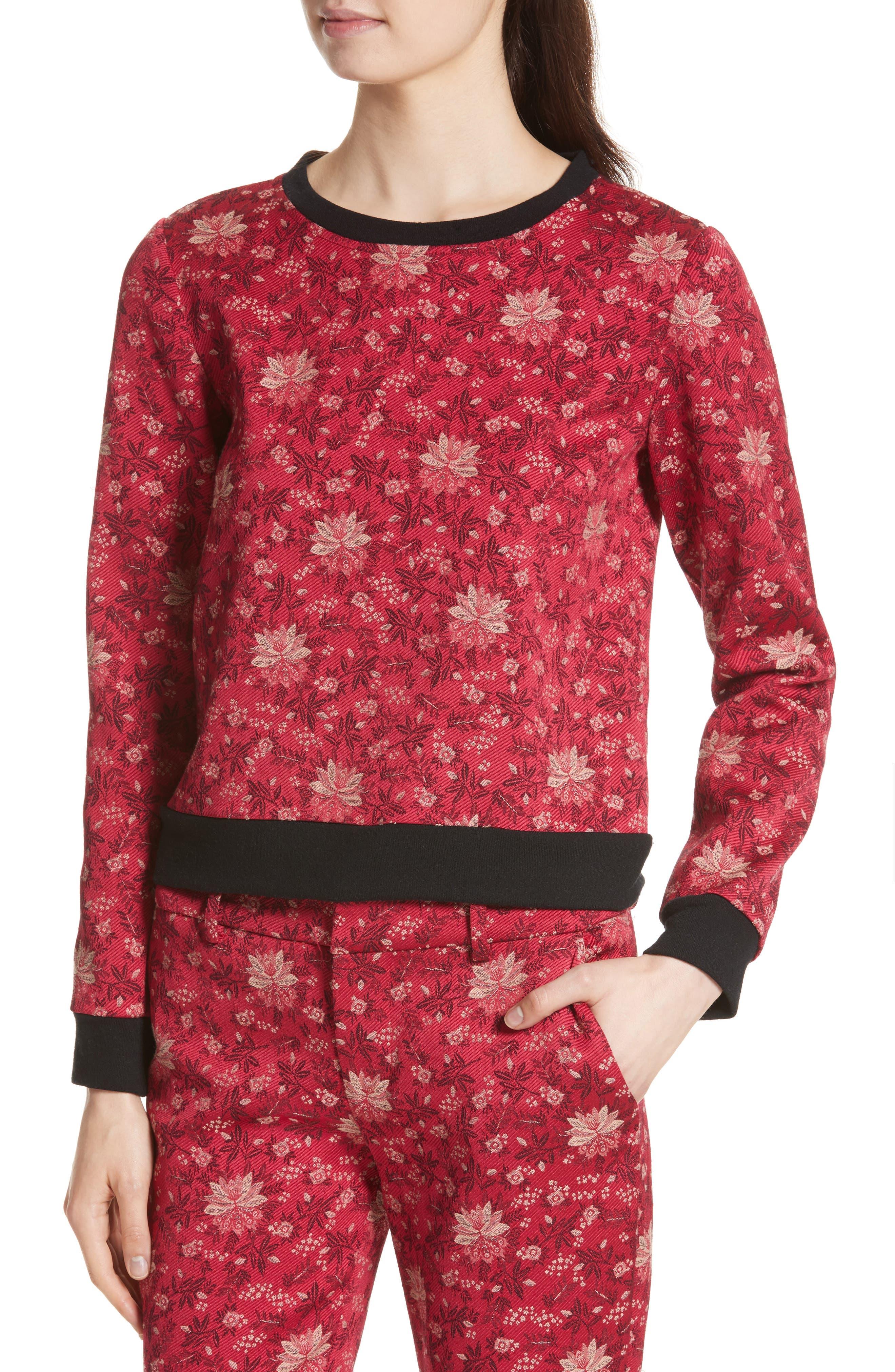 Marylou Floral Jacquard Sweatshirt,                             Alternate thumbnail 4, color,                             650