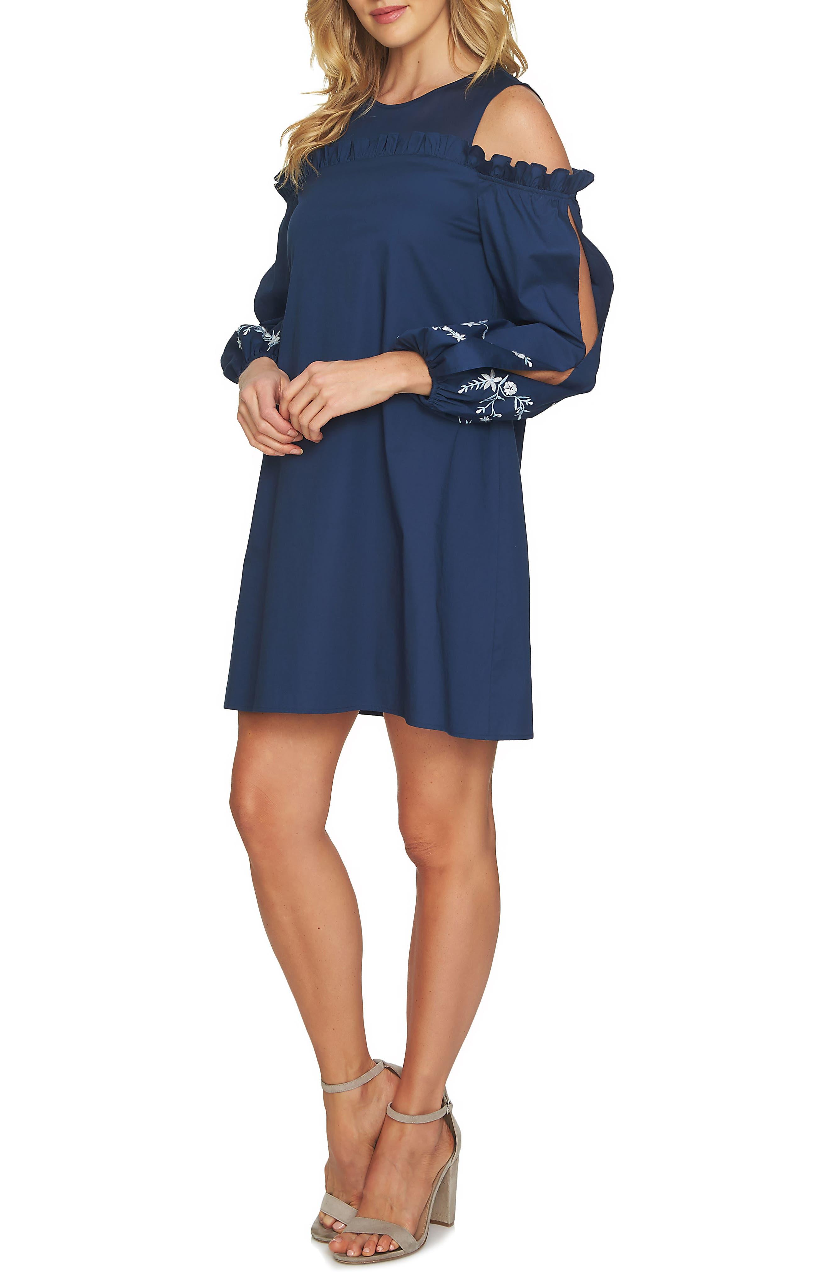 Cold Shoulder Embroidered Shift Dress,                             Alternate thumbnail 3, color,                             429
