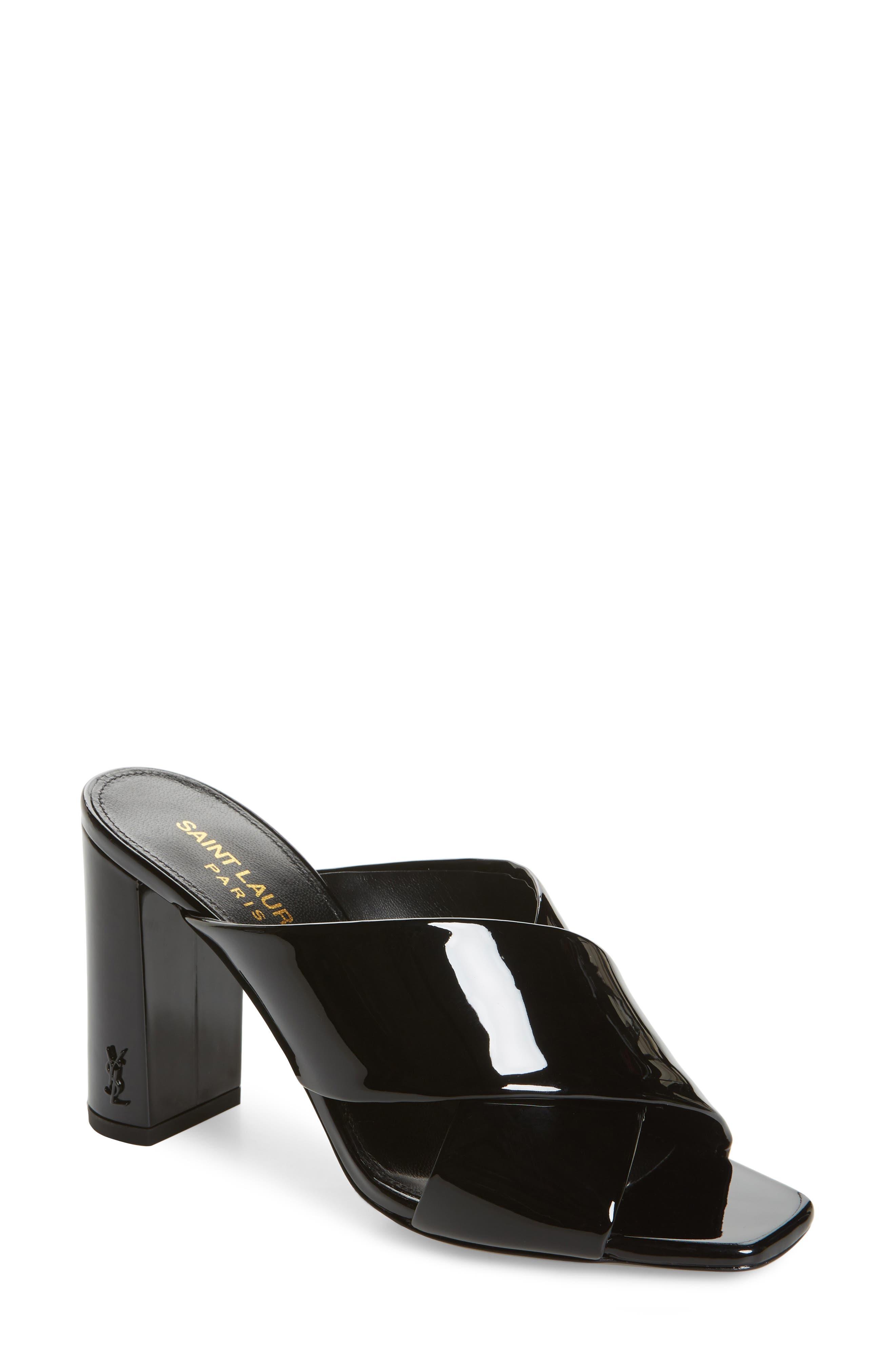Loulou Slide Sandal,                             Main thumbnail 1, color,                             BLACK PATENT