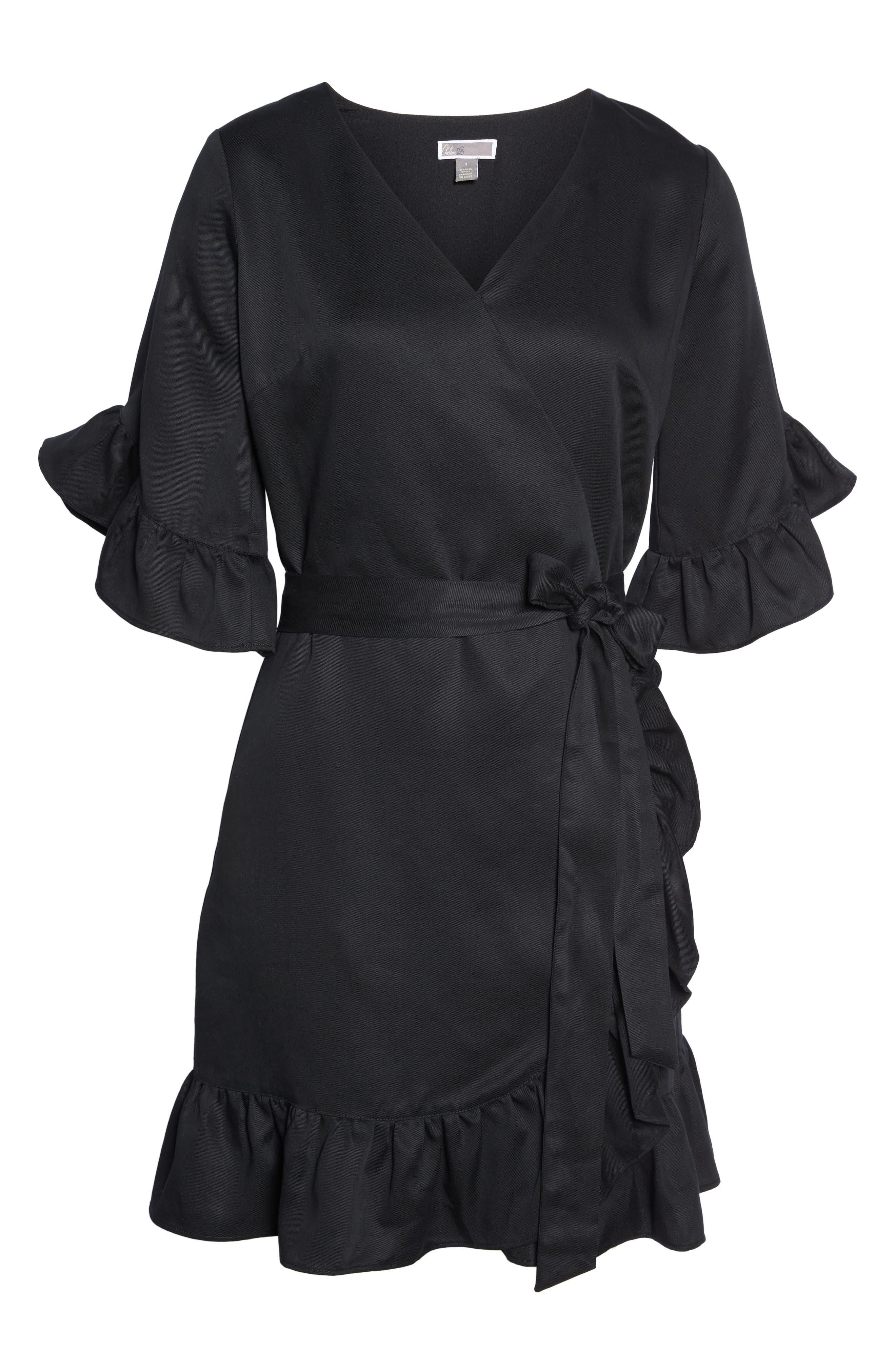 Ruffle Wrap Dress,                             Alternate thumbnail 6, color,                             001