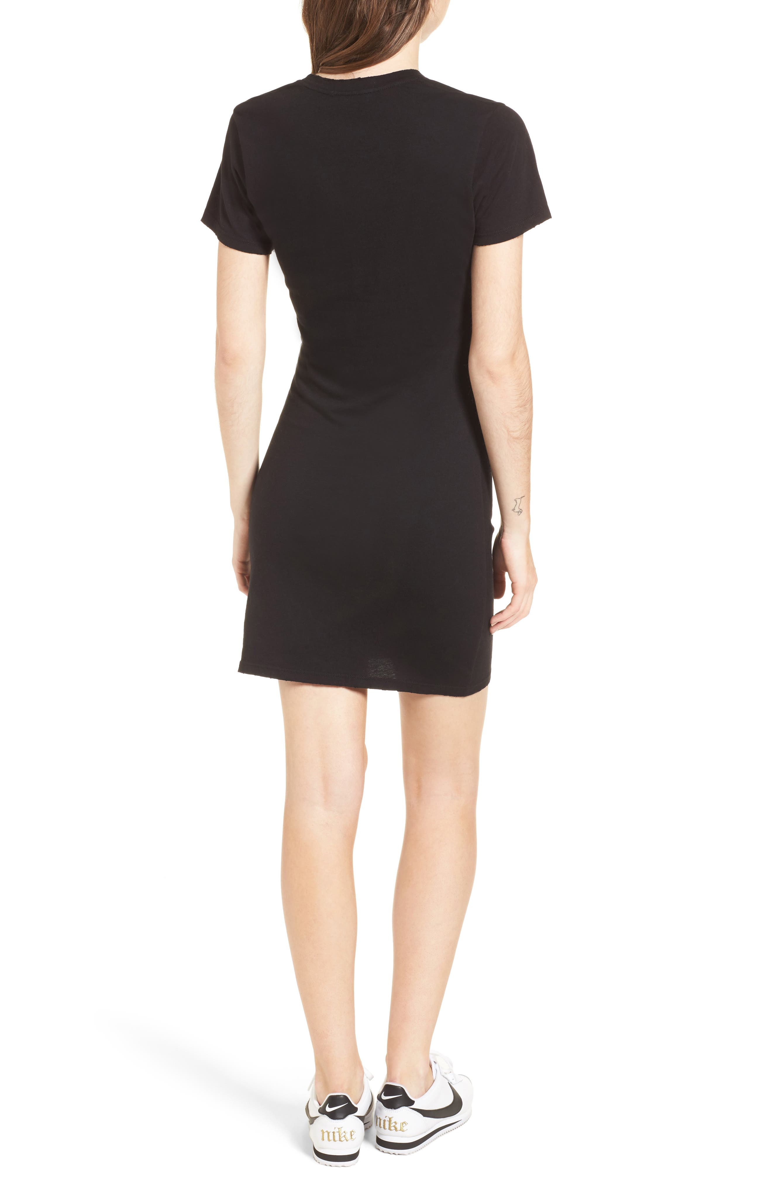 Jazz Knotted T-Shirt Dress,                             Alternate thumbnail 2, color,                             BLACK CAT