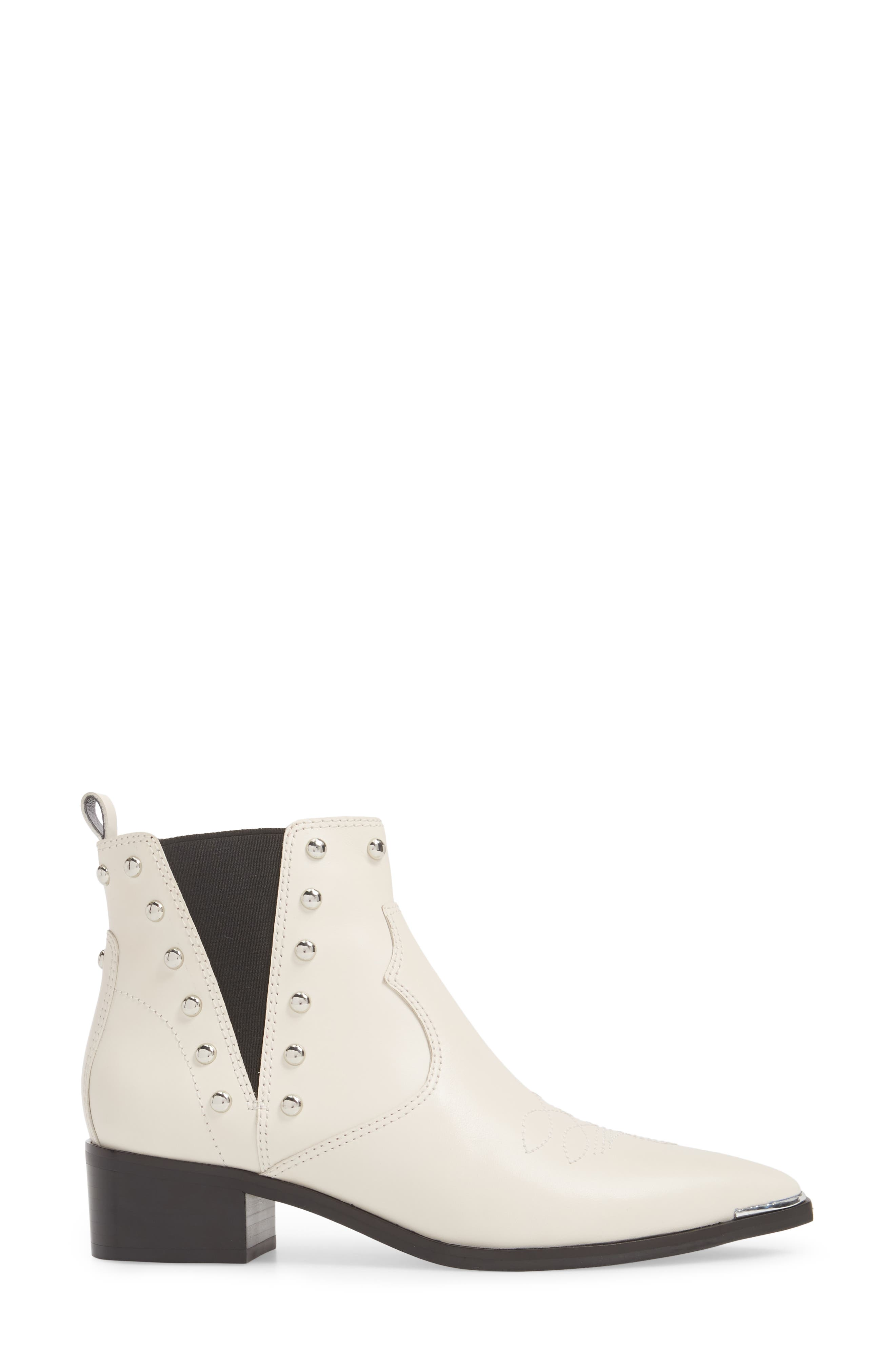 Yente Chelsea Boot,                             Alternate thumbnail 3, color,                             IVORY LEATHER