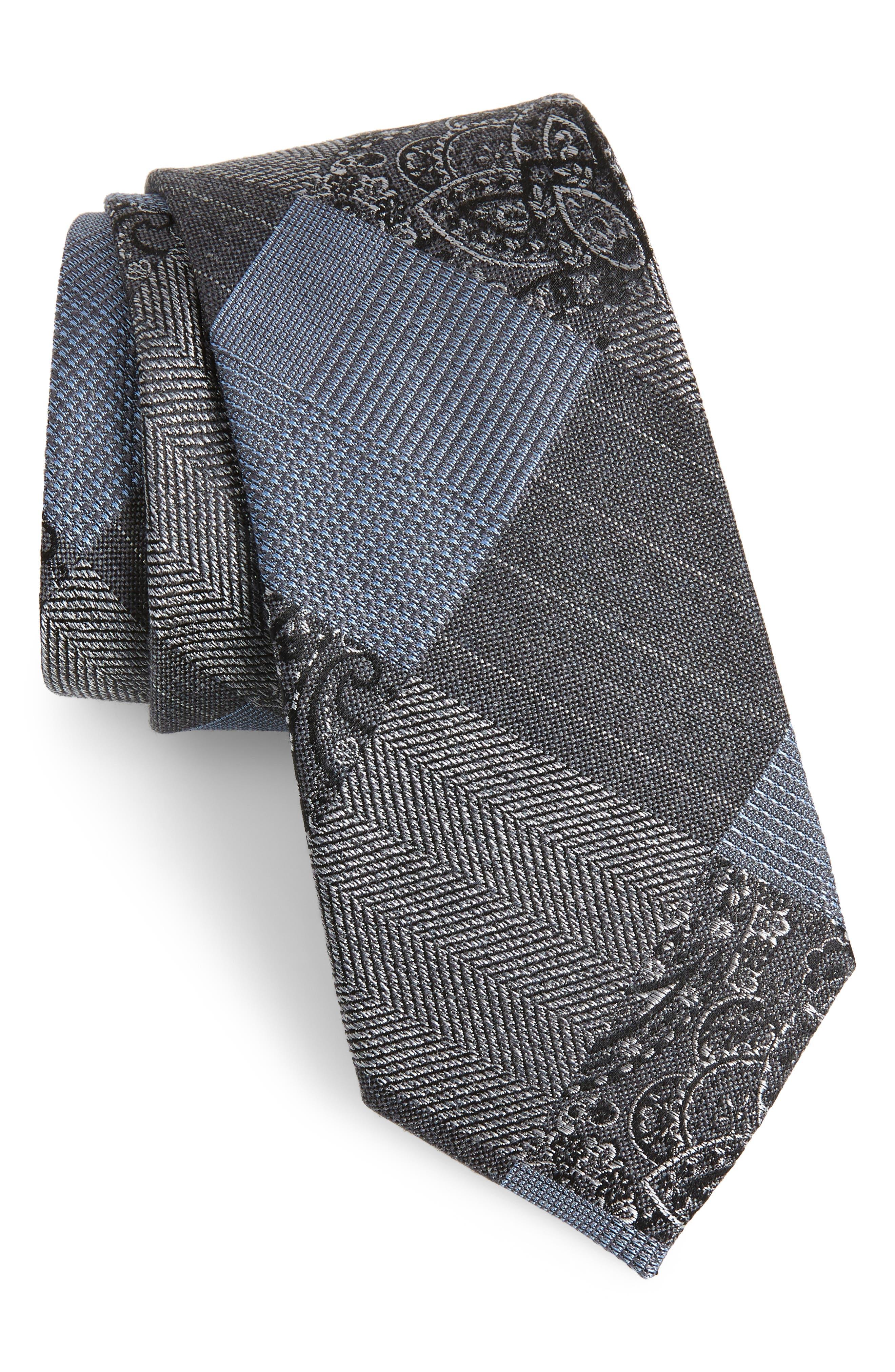 Leveque Check Silk Blend Tie,                         Main,                         color, BLACK