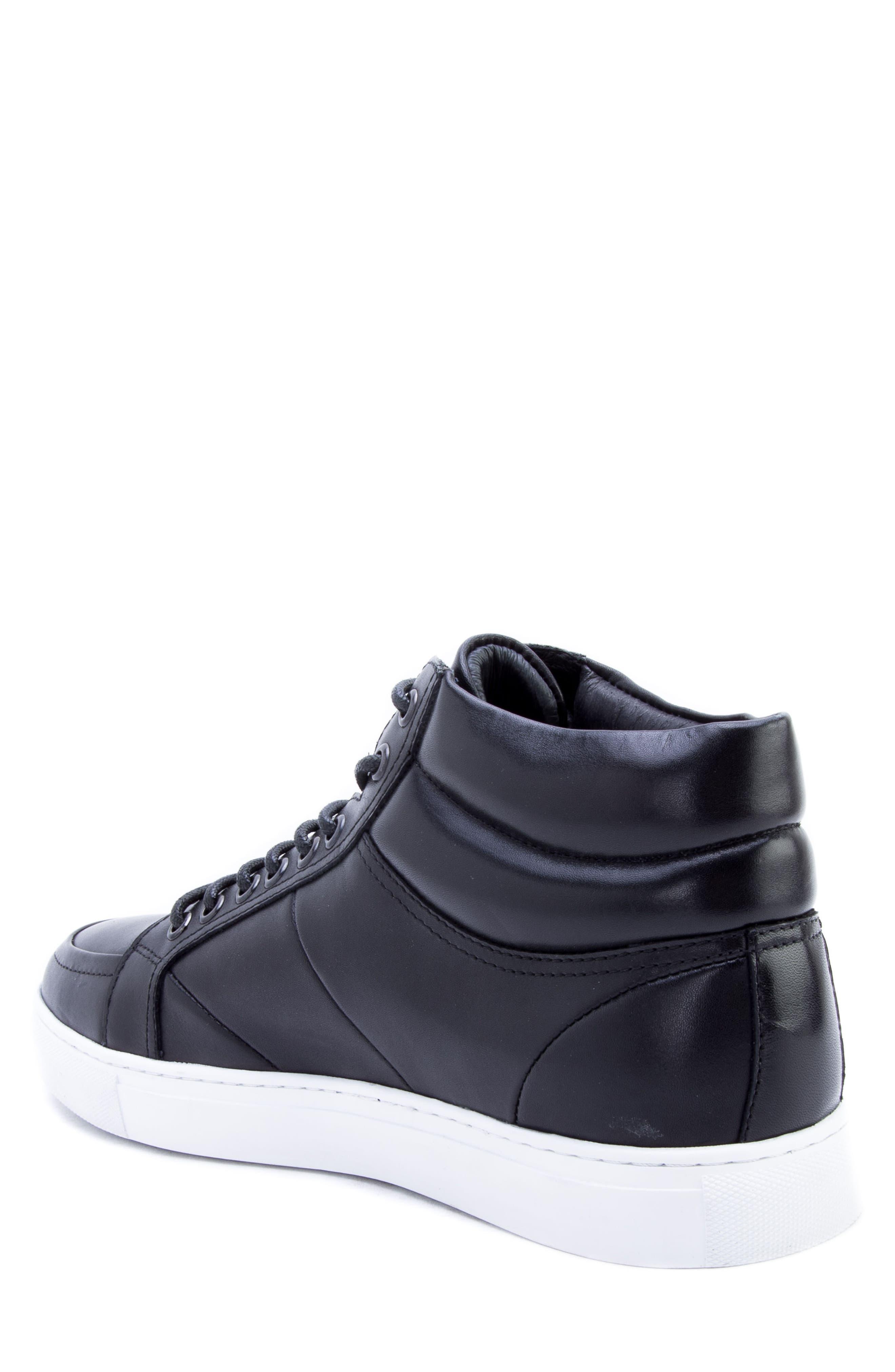 Tassel Mid Top Sneaker,                             Alternate thumbnail 2, color,                             BLACK LEATHER