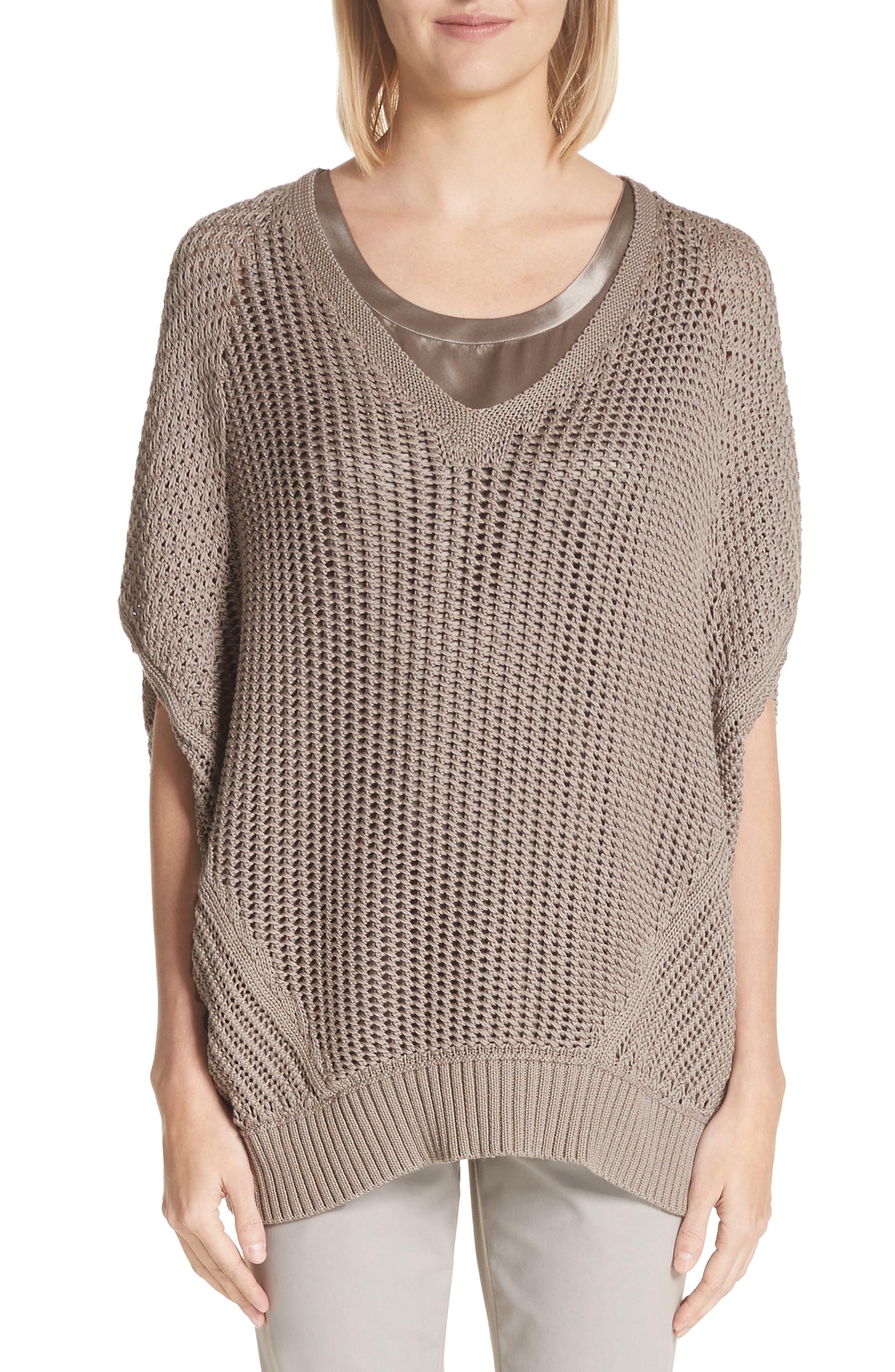 Mixed Stitch Cotton & Silk Sweater,                         Main,                         color, 026