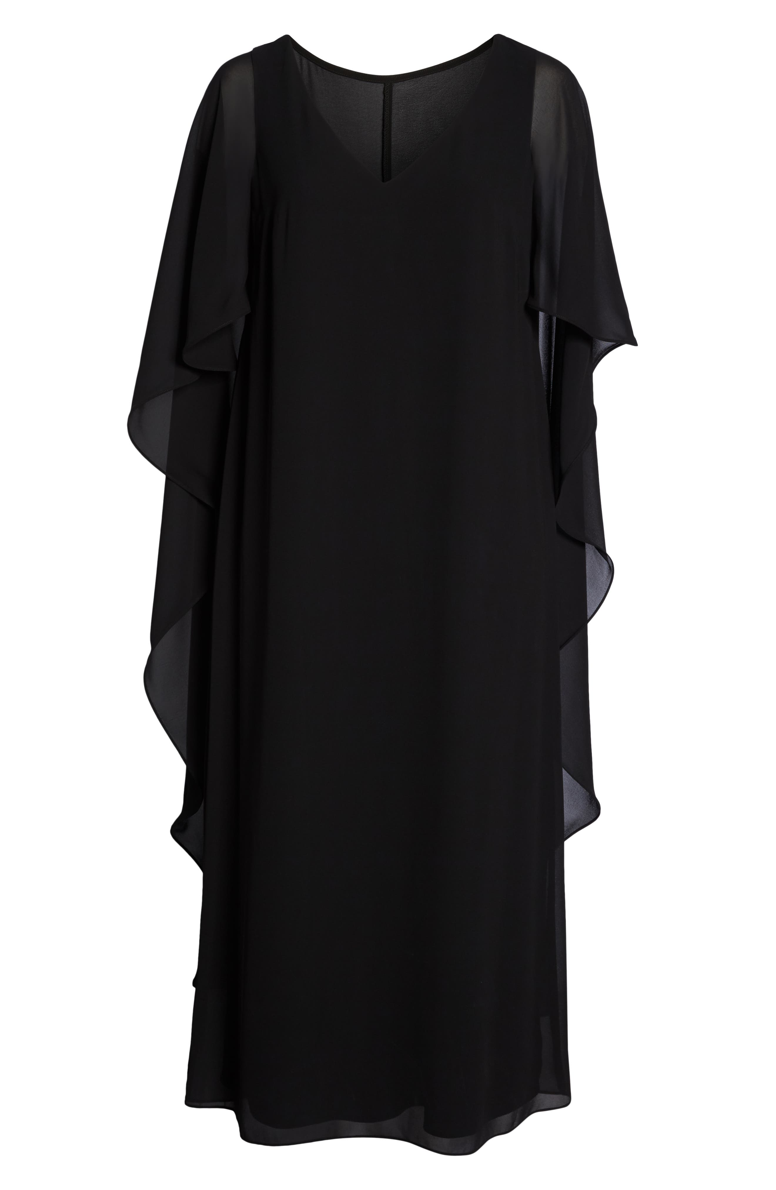 Cape Overlay Chiffon Gown,                             Alternate thumbnail 7, color,                             BLACK
