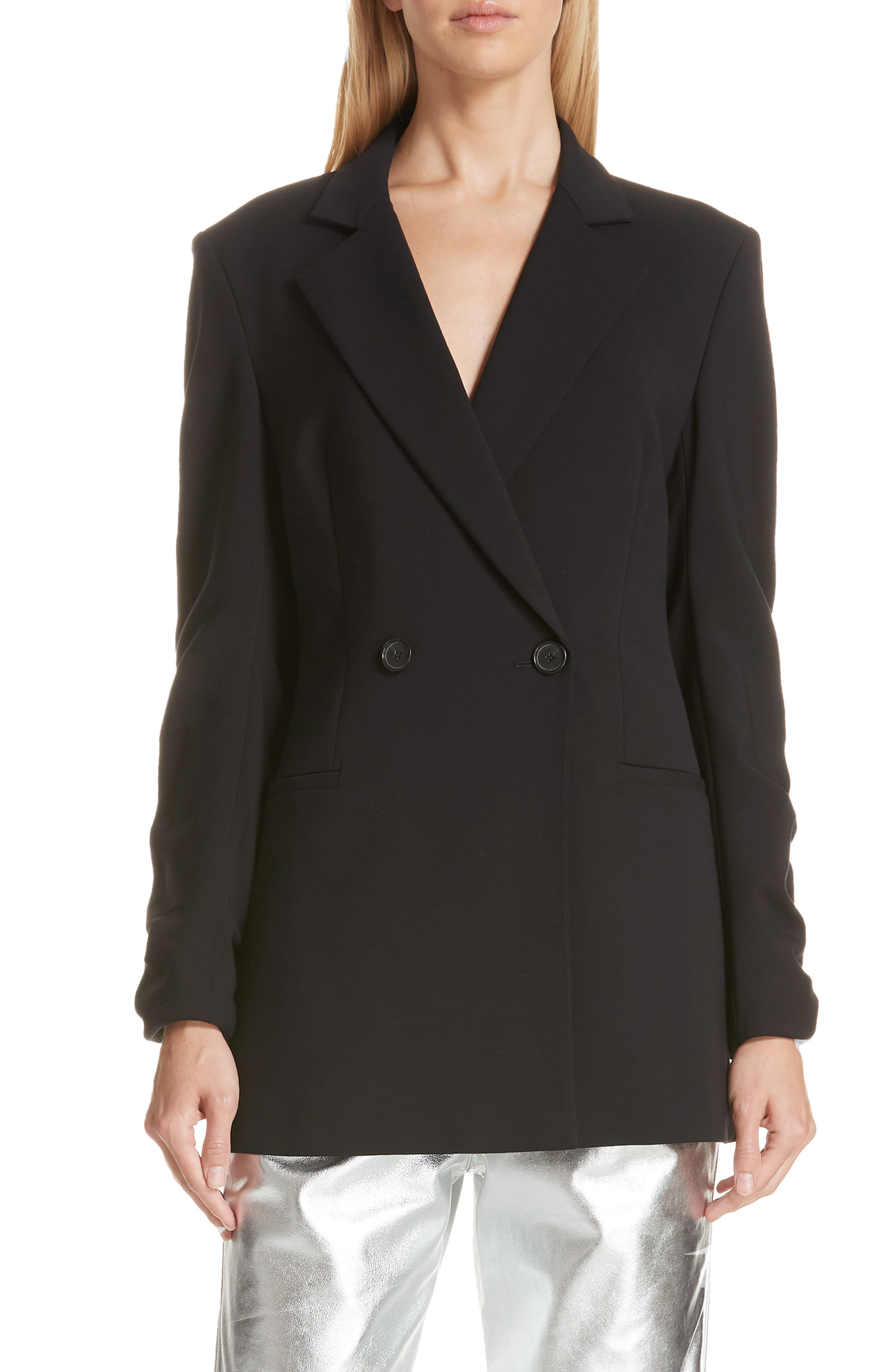 Ruched Sleeve Blazer,                         Main,                         color, 001