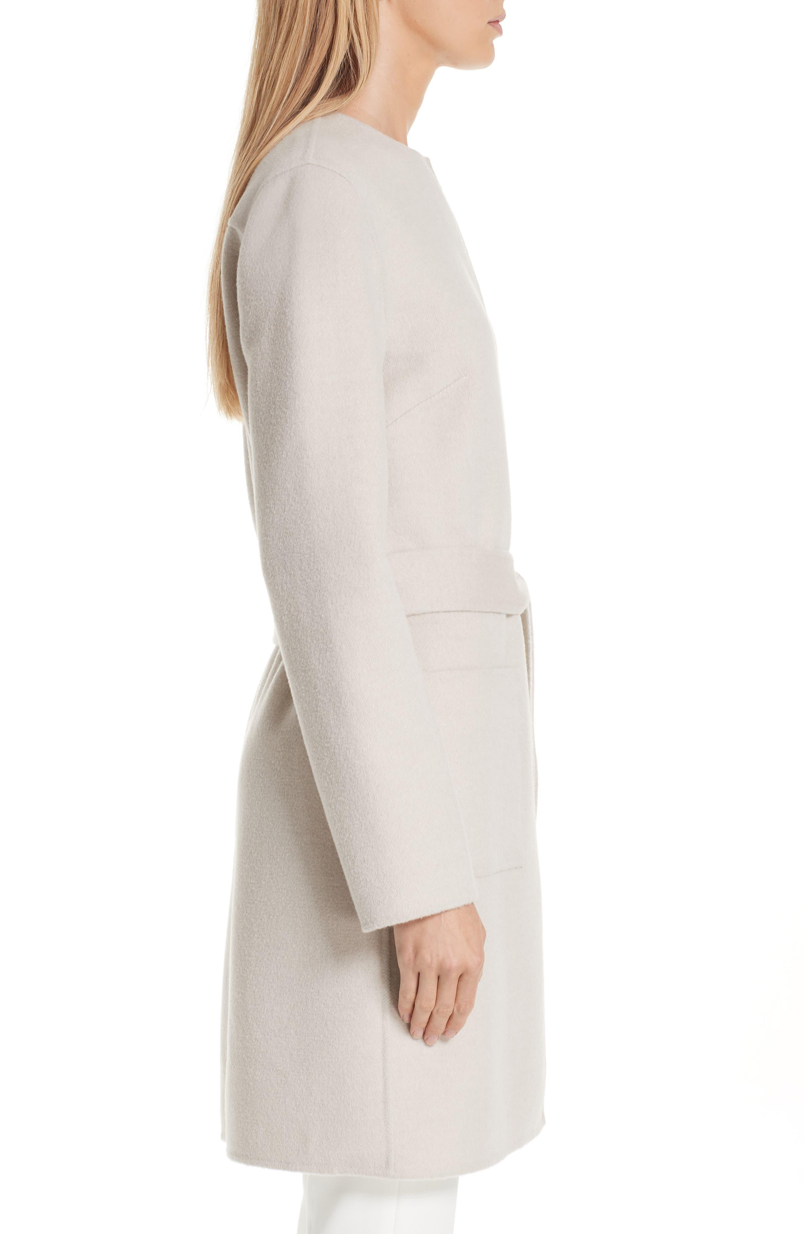 Reversible Double Face Wool & Angora Blend Topper,                             Alternate thumbnail 4, color,                             HAZELNUT MELANGE/ CREAM
