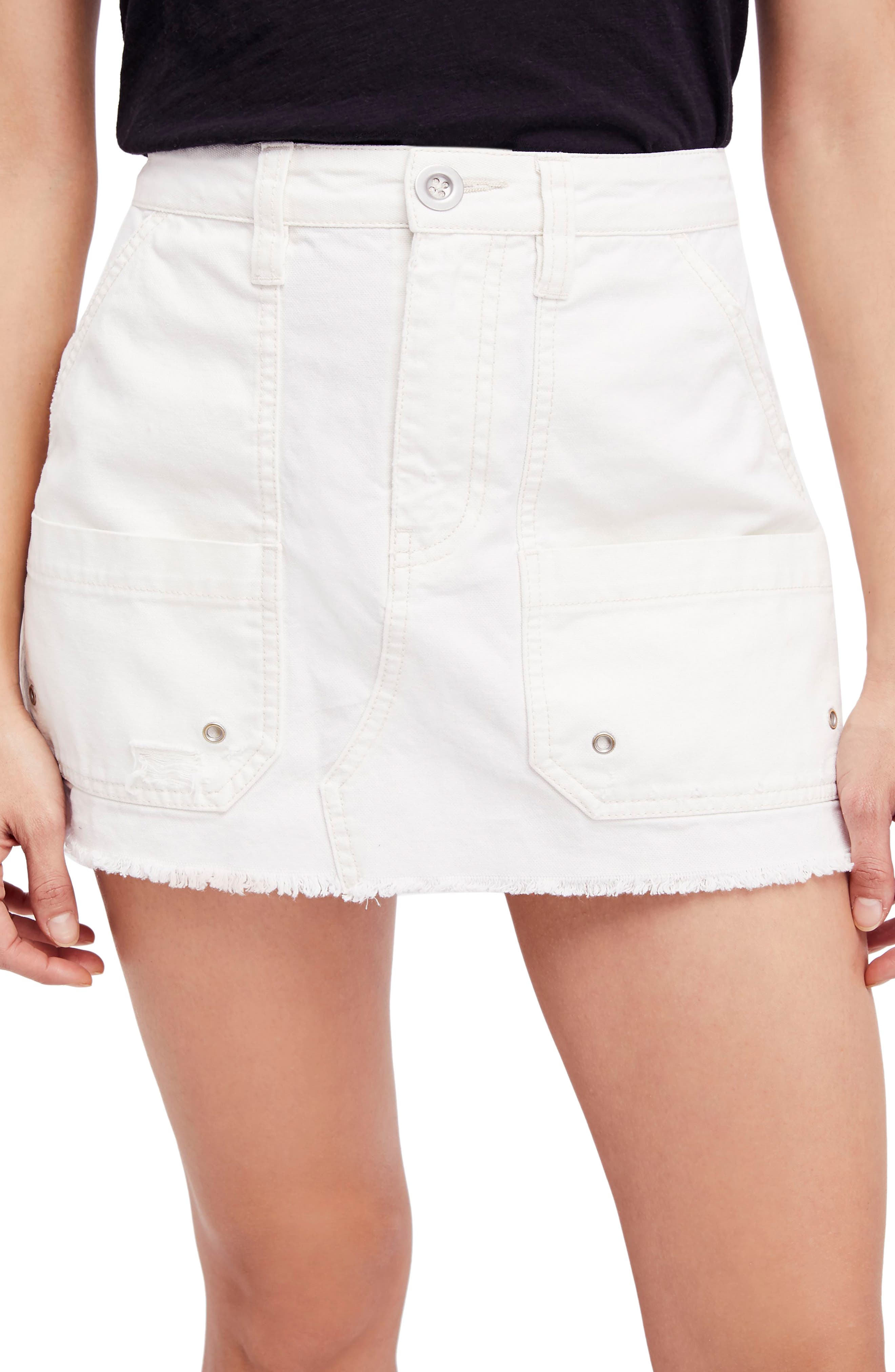 Canvas Miniskirt,                             Main thumbnail 3, color,
