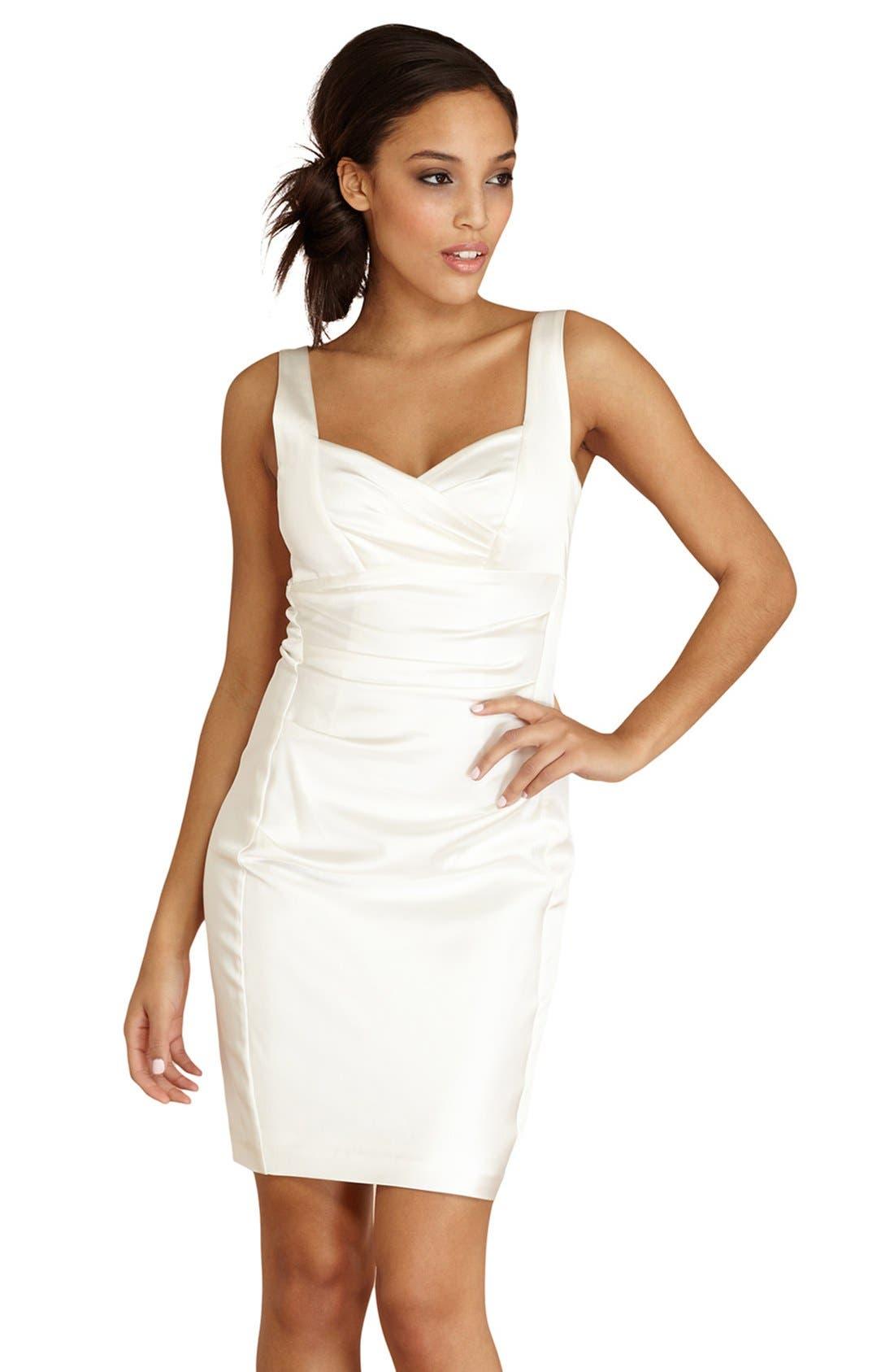 DONNA MORGAN,                             Ruched Satin Sheath Dress,                             Alternate thumbnail 2, color,                             900