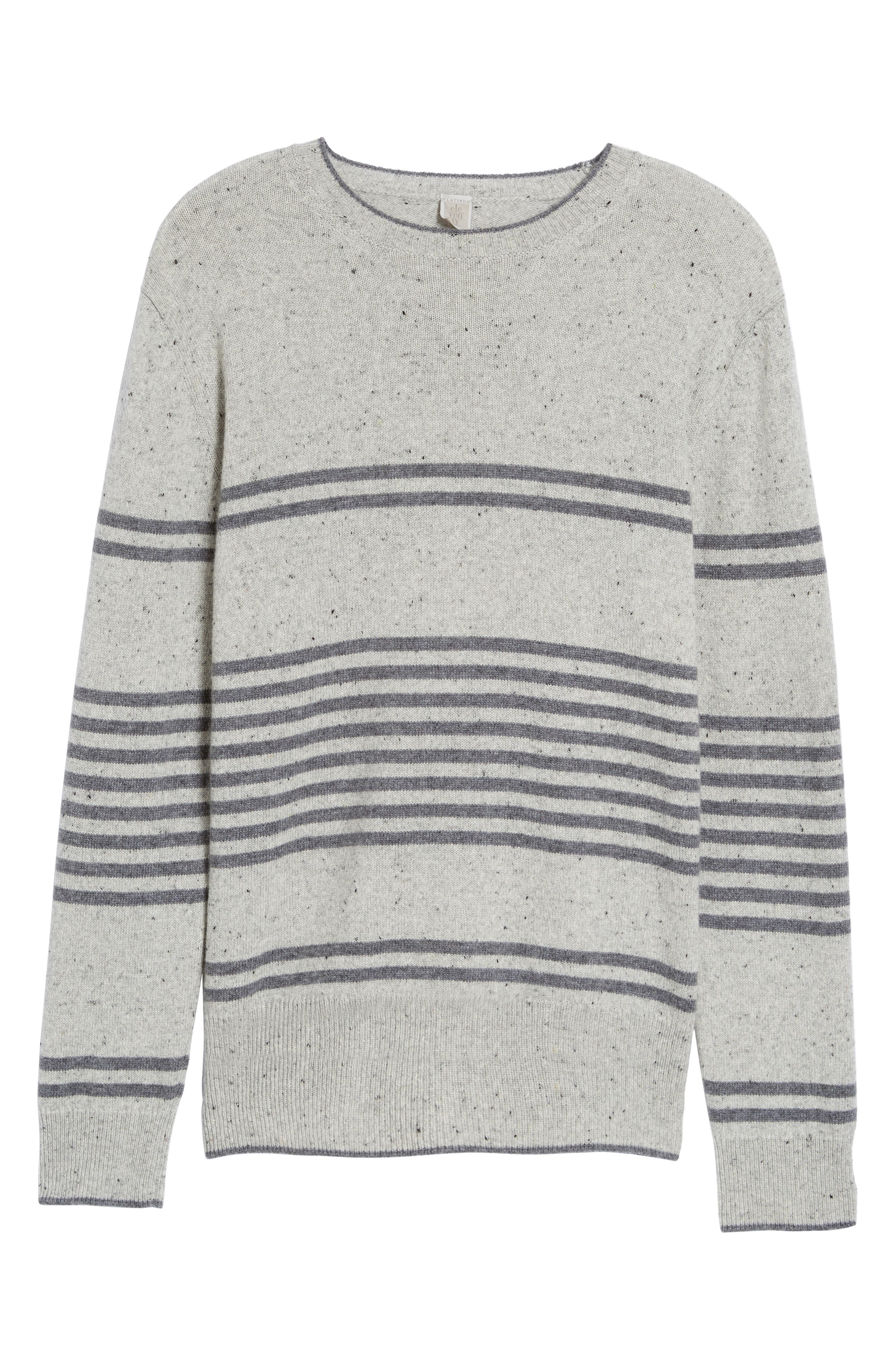 Donegal Stripe Cashmere Sweater,                             Alternate thumbnail 6, color,                             020