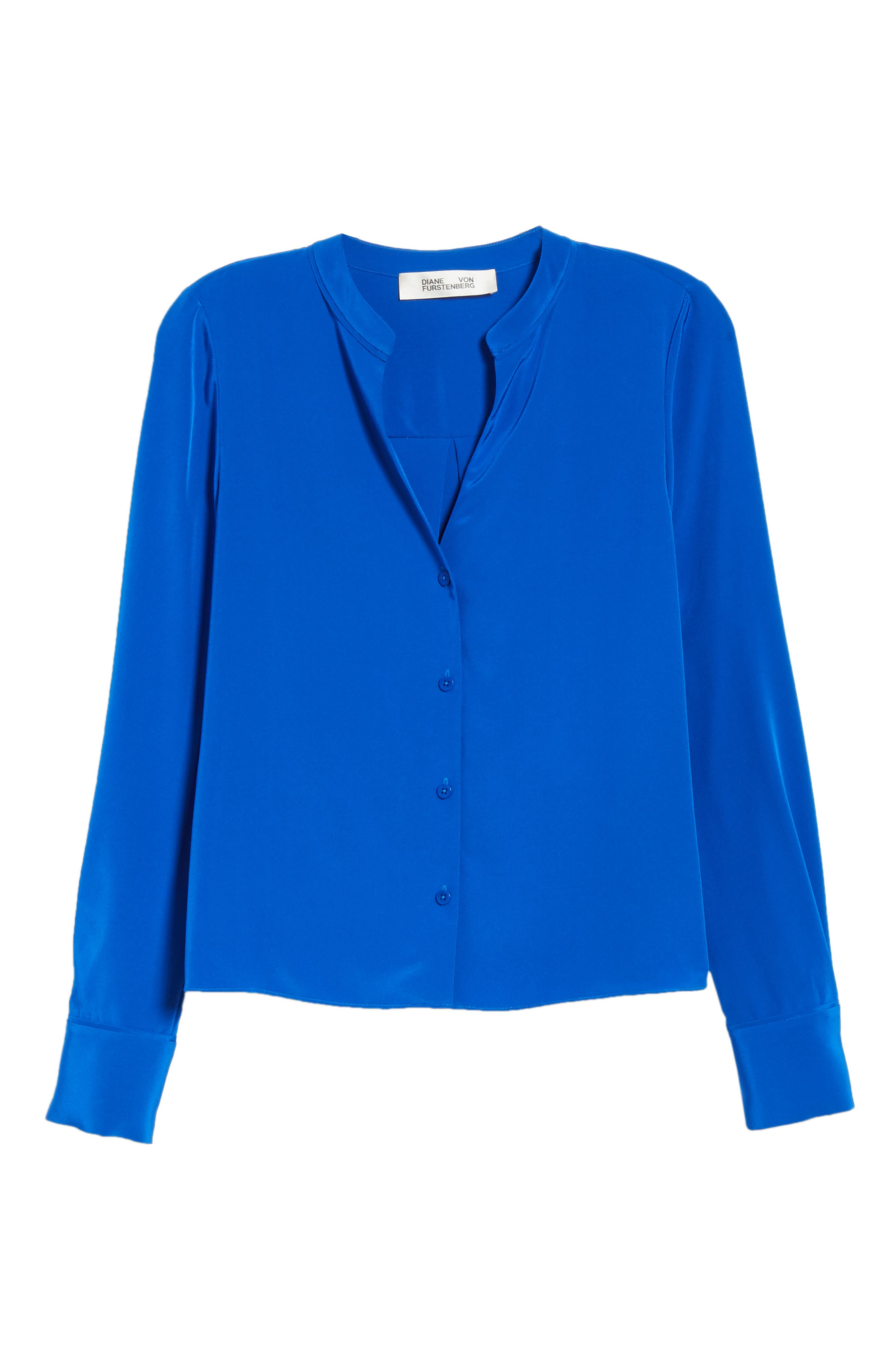 Front Button Collarless Silk Blouse,                             Alternate thumbnail 6, color,                             COBALT