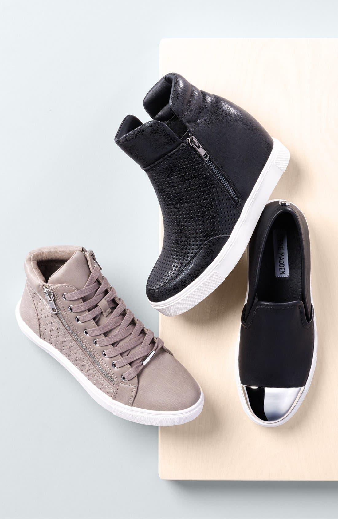 STEVE MADDEN,                             'Linqs' Hidden Wedge Sneaker,                             Alternate thumbnail 5, color,                             001