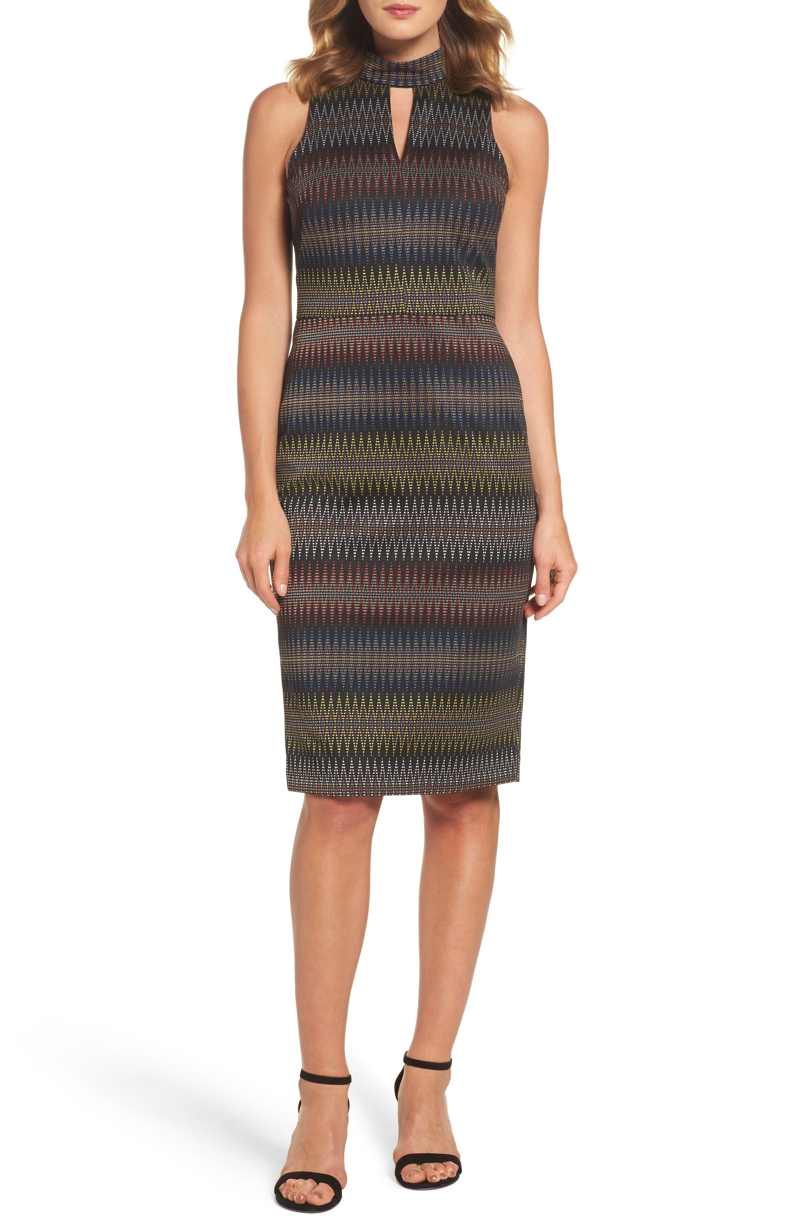 Jacquard Sheath Dress,                             Main thumbnail 1, color,                             001