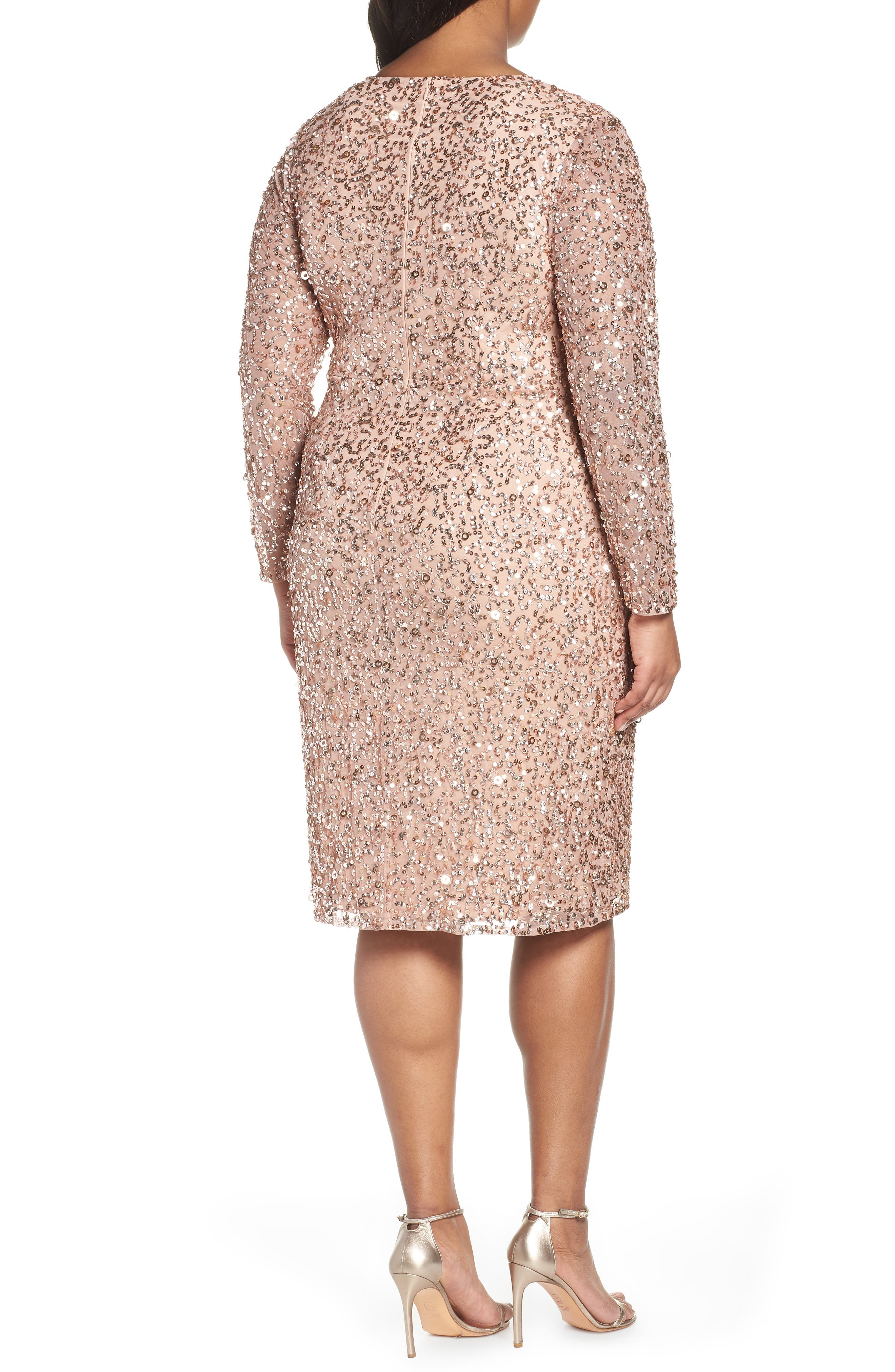 ADRIANNA PAPELL,                             Beaded Mesh Cocktail Dress,                             Alternate thumbnail 2, color,                             ROSE GOLD